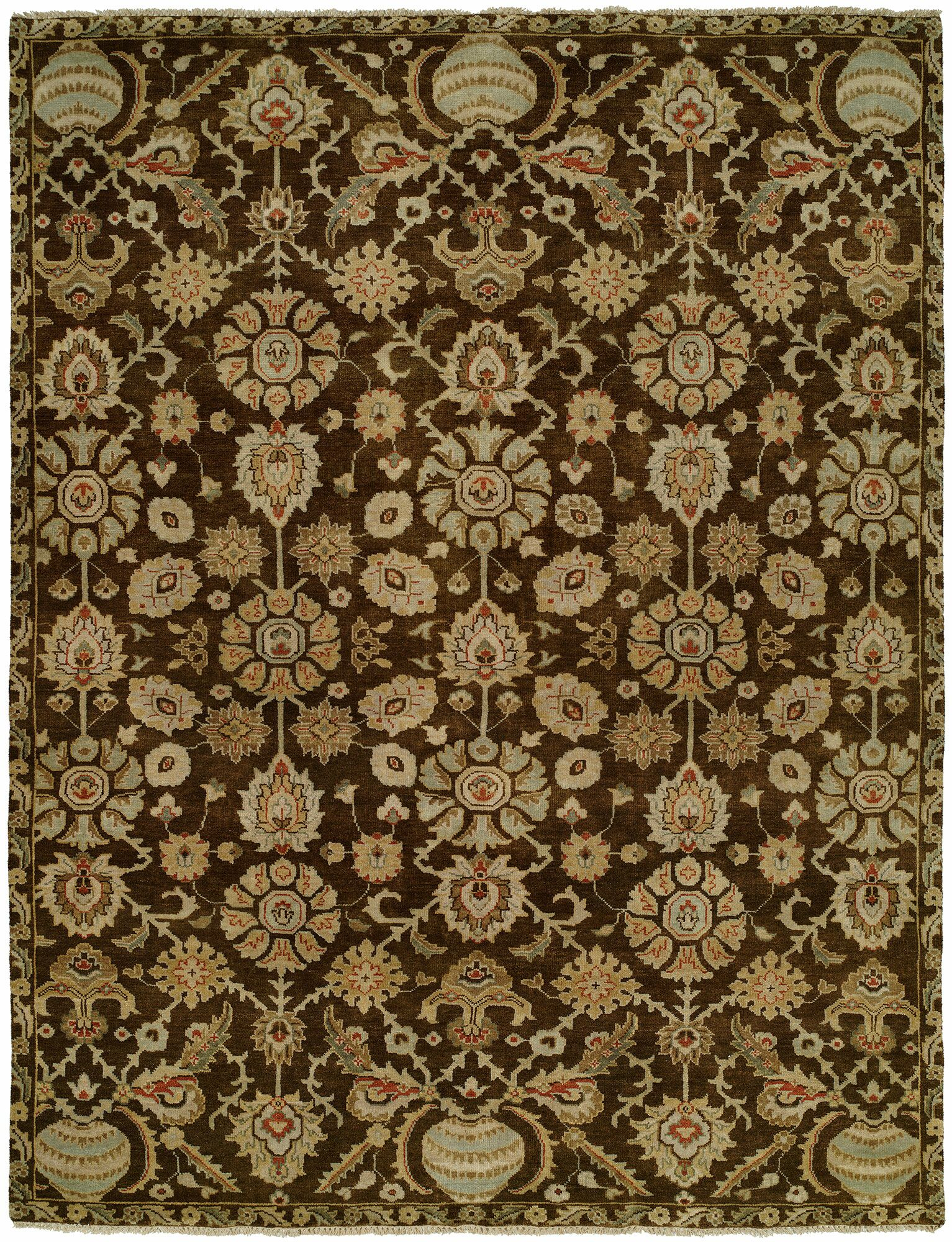 Lora Hand Knotted Wool Brown/Beige Area Rug Rug Size: Rectangle 12' x 15'