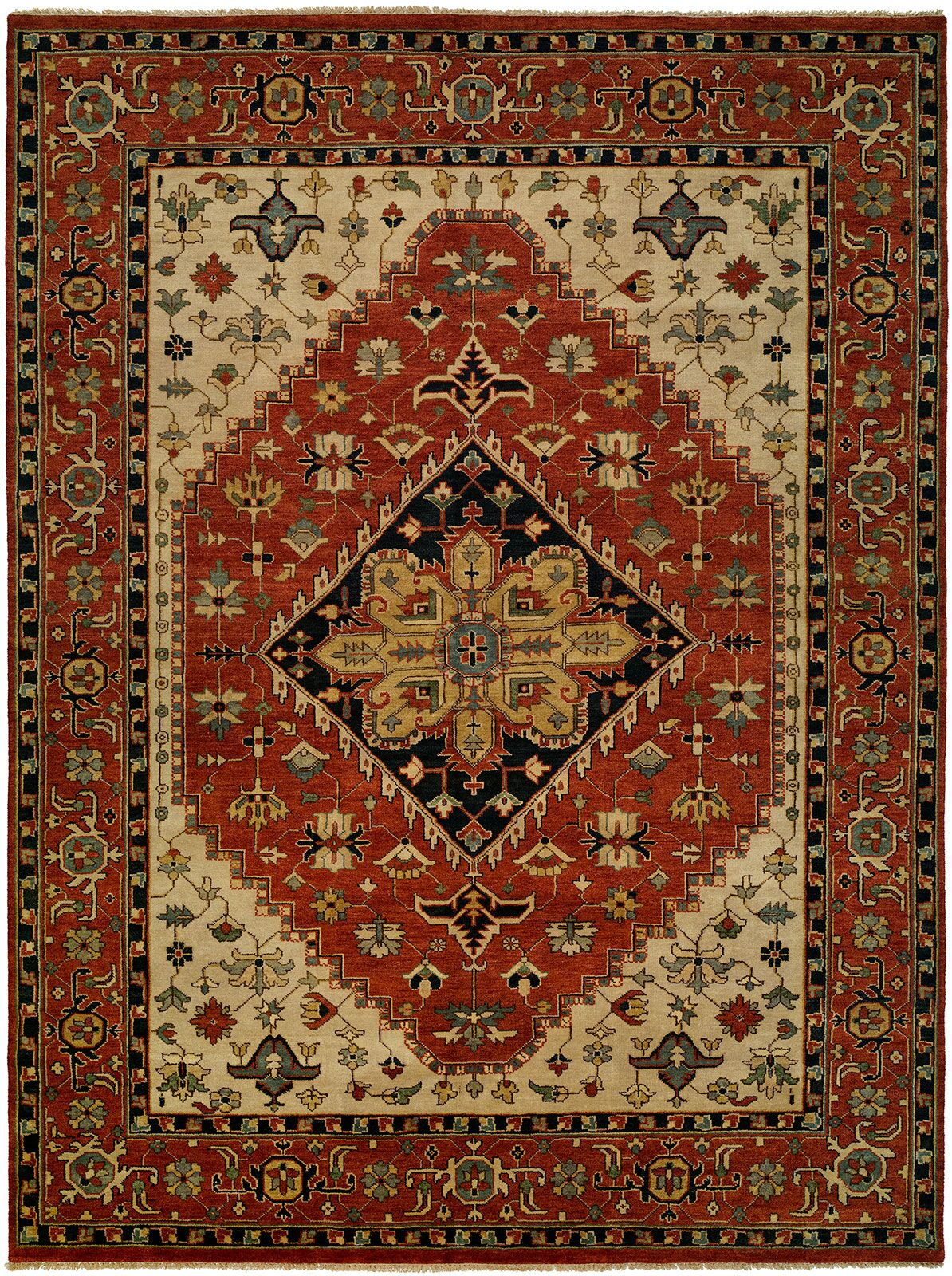 Martinsburg Hand Knotted Wool Rust Area Rug Rug Size: Rectangle 8' x 10'
