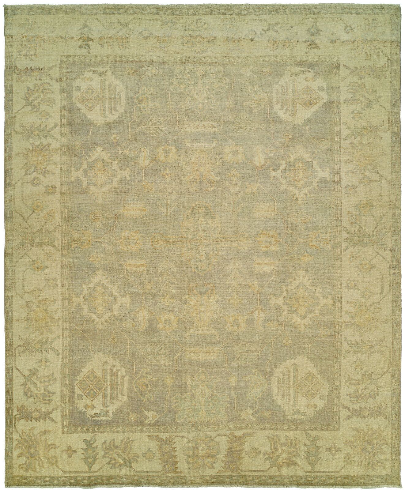 Herrick Hand Knotted Wool Gray/Ivory Area Rug Rug Size: Rectangle 9' x 12'