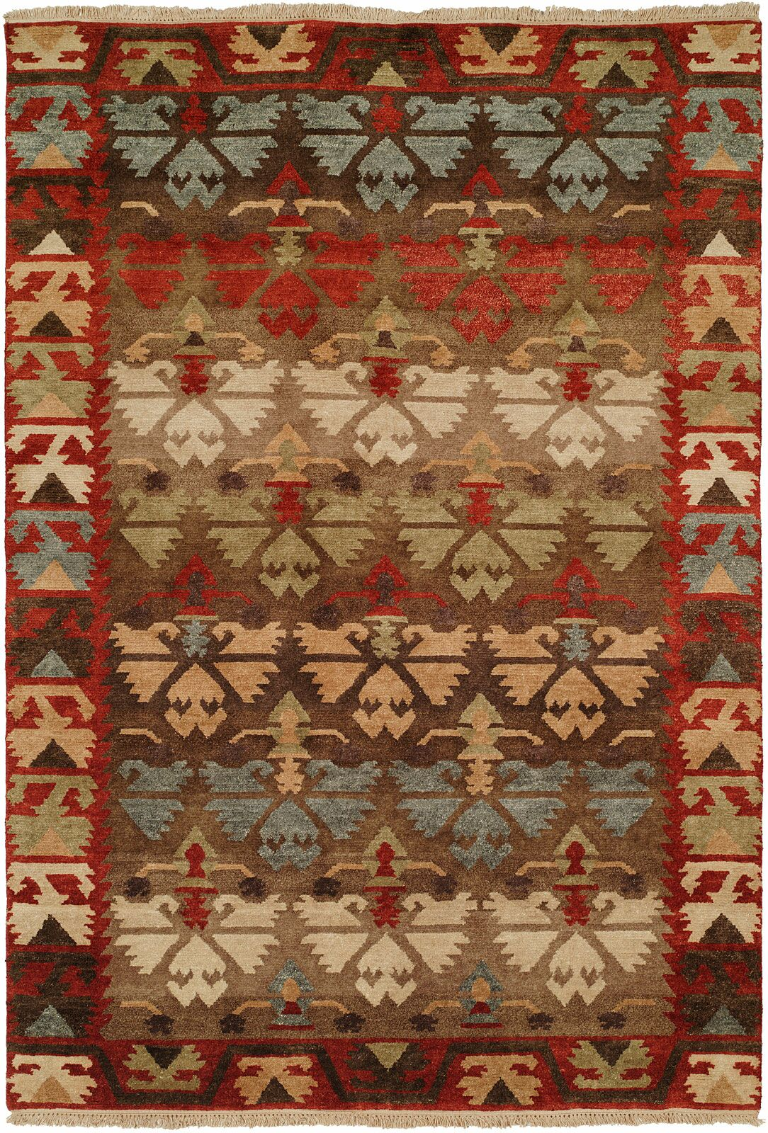 Sonia Hand-Knotted Wool Brown Area Rug Rug Size: Rectangle 6' x 9'