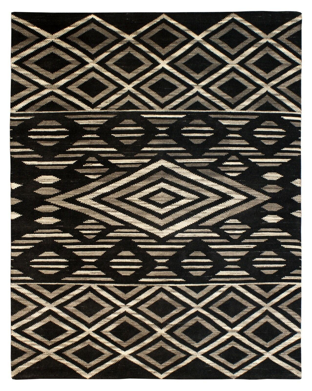 Rochester Hand-Knotted Wool Black Area Rug Rug Size: Rectangle 8' x 10'