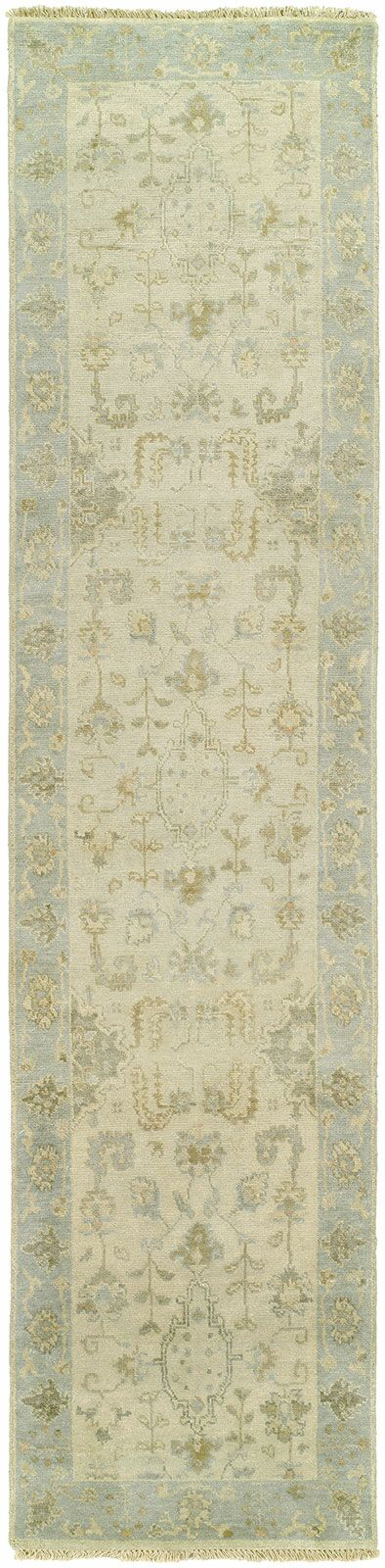 Daan Hand-Knotted Wool Ivory/BlueArea Rug Rug Size: Runner 2'6