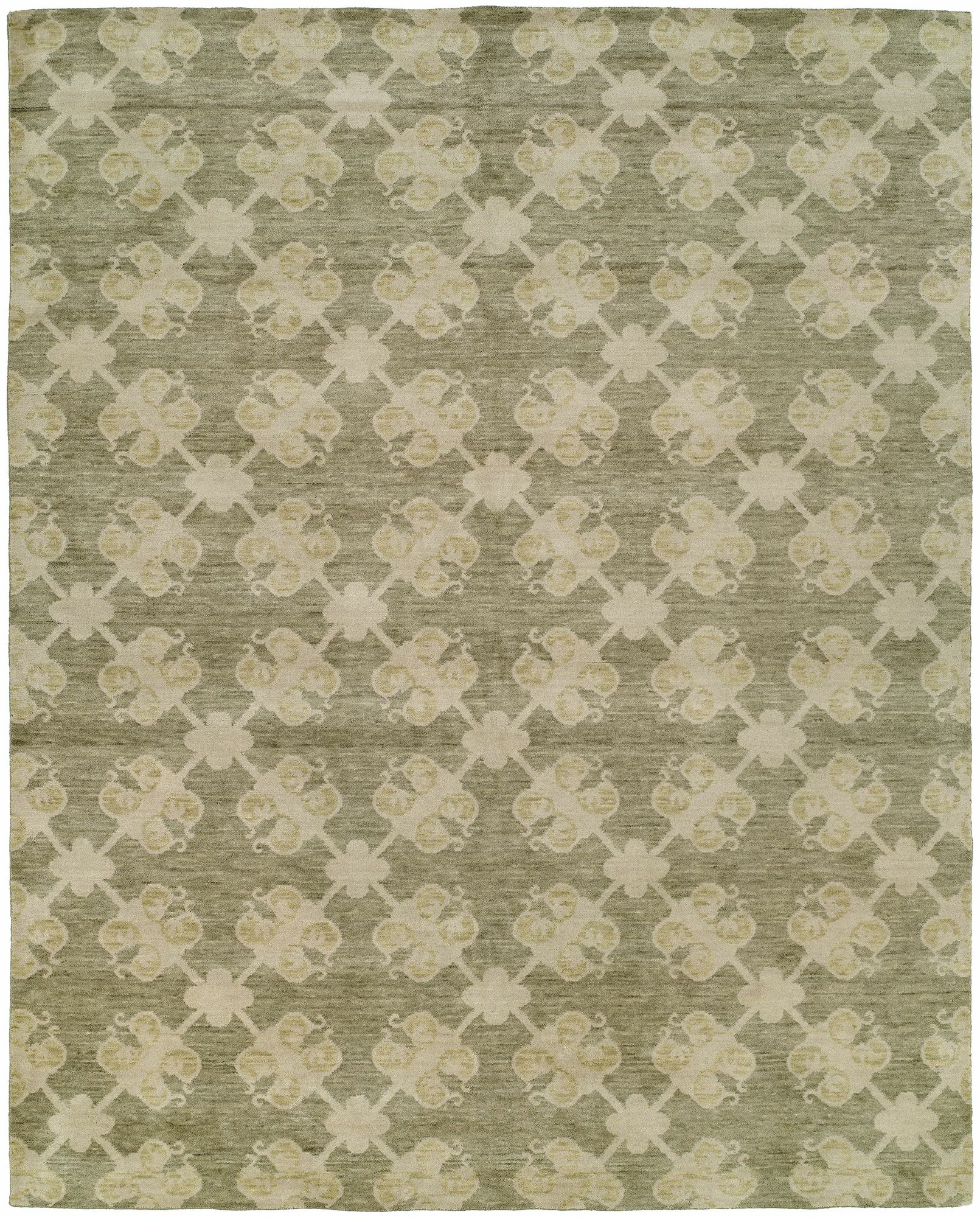 Candide Hand-Knotted Wool Green/Beige Area Rug Rug Size: Rectangle 4' x 6'