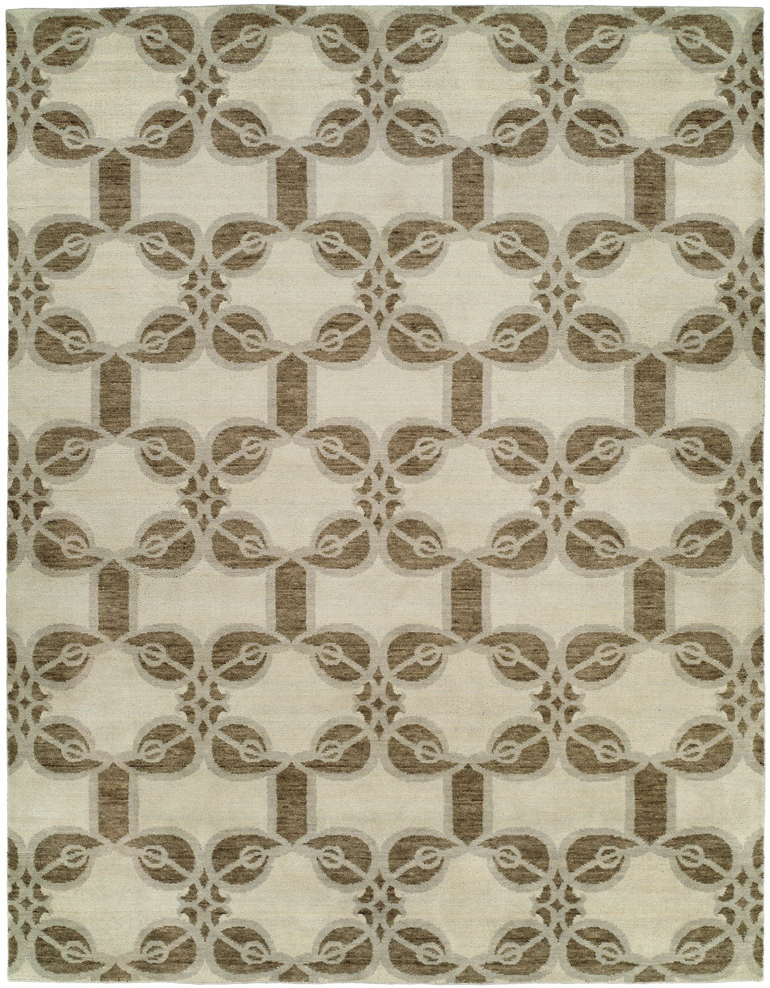 Guilaine Hand Knotted Wool Ivory Area Rug Rug Size: Rectangle 6' x 9'