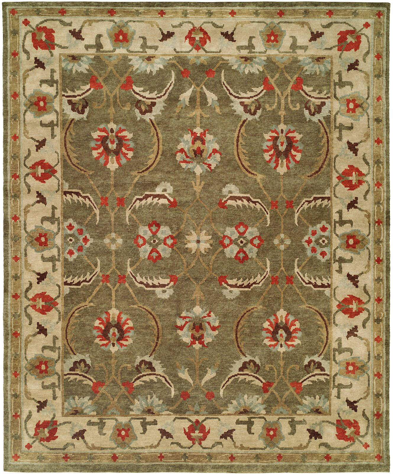 Hor Hand Knotted Wool Green/IvoryArea Rug Rug Size: Rectangle 6' x 9'