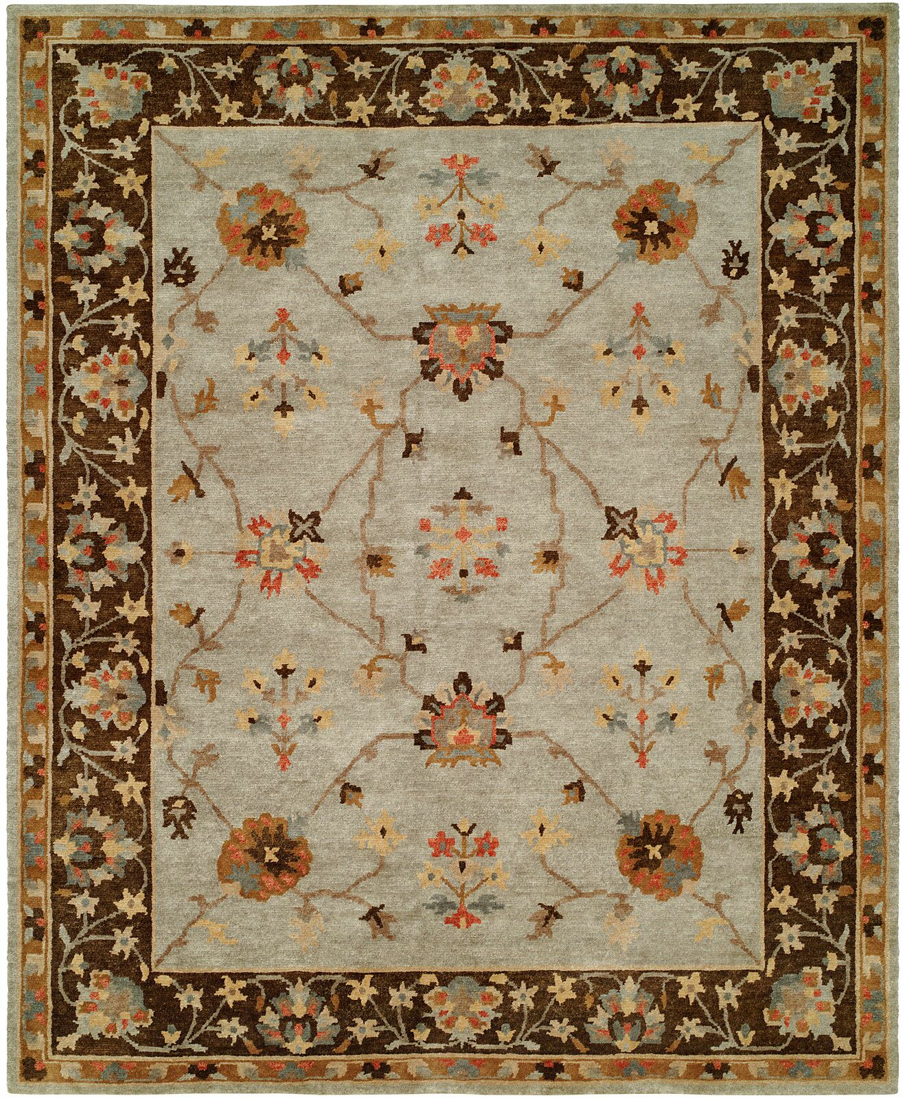Christie Hand Knotted Wool Gray/Brown Area Rug Rug Size: Rectangle 2' x 3'