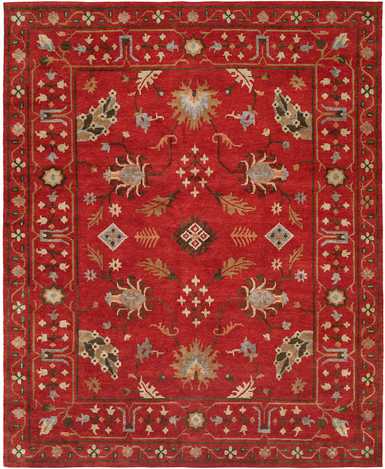 Priyansh Hand Knotted Wool Red Area Rug Rug Size: Rectangle 9' x 12'
