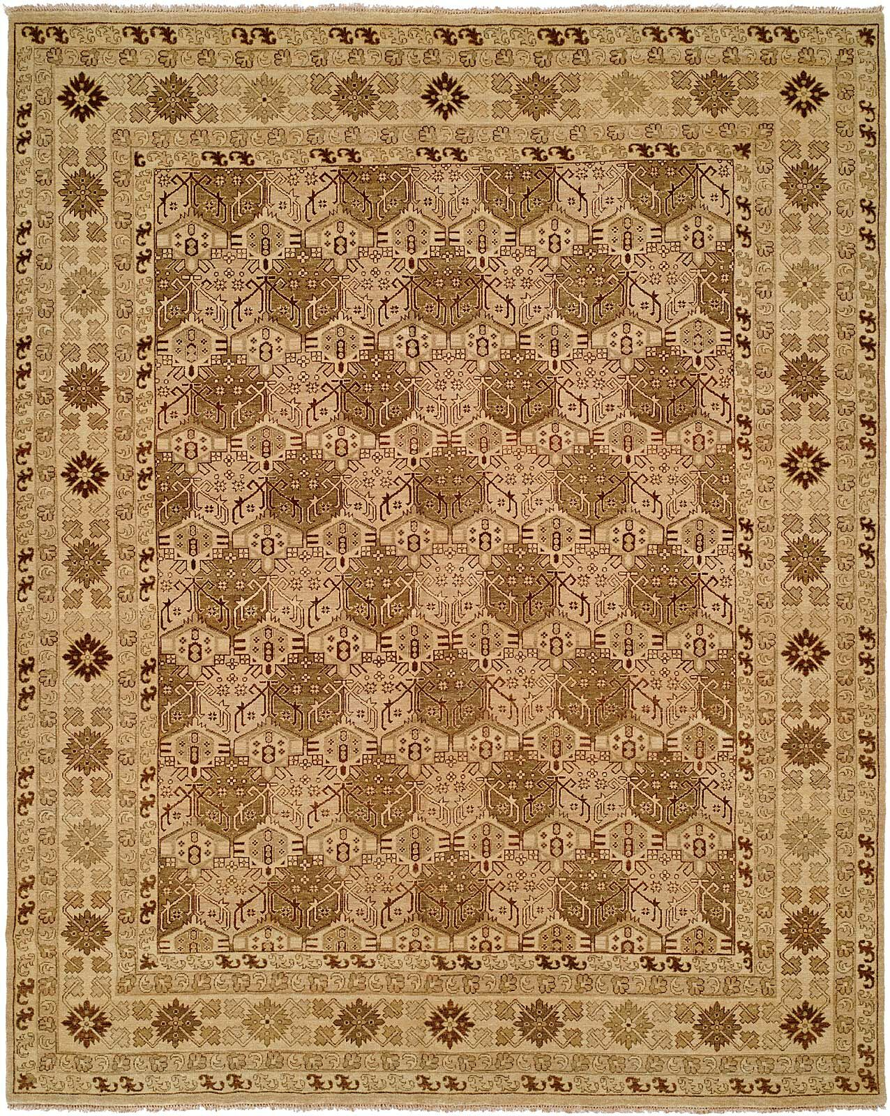 Mcandrews Hand Knotted Wool Tan Area Rug Rug Size: Rectangle 8' x 10'