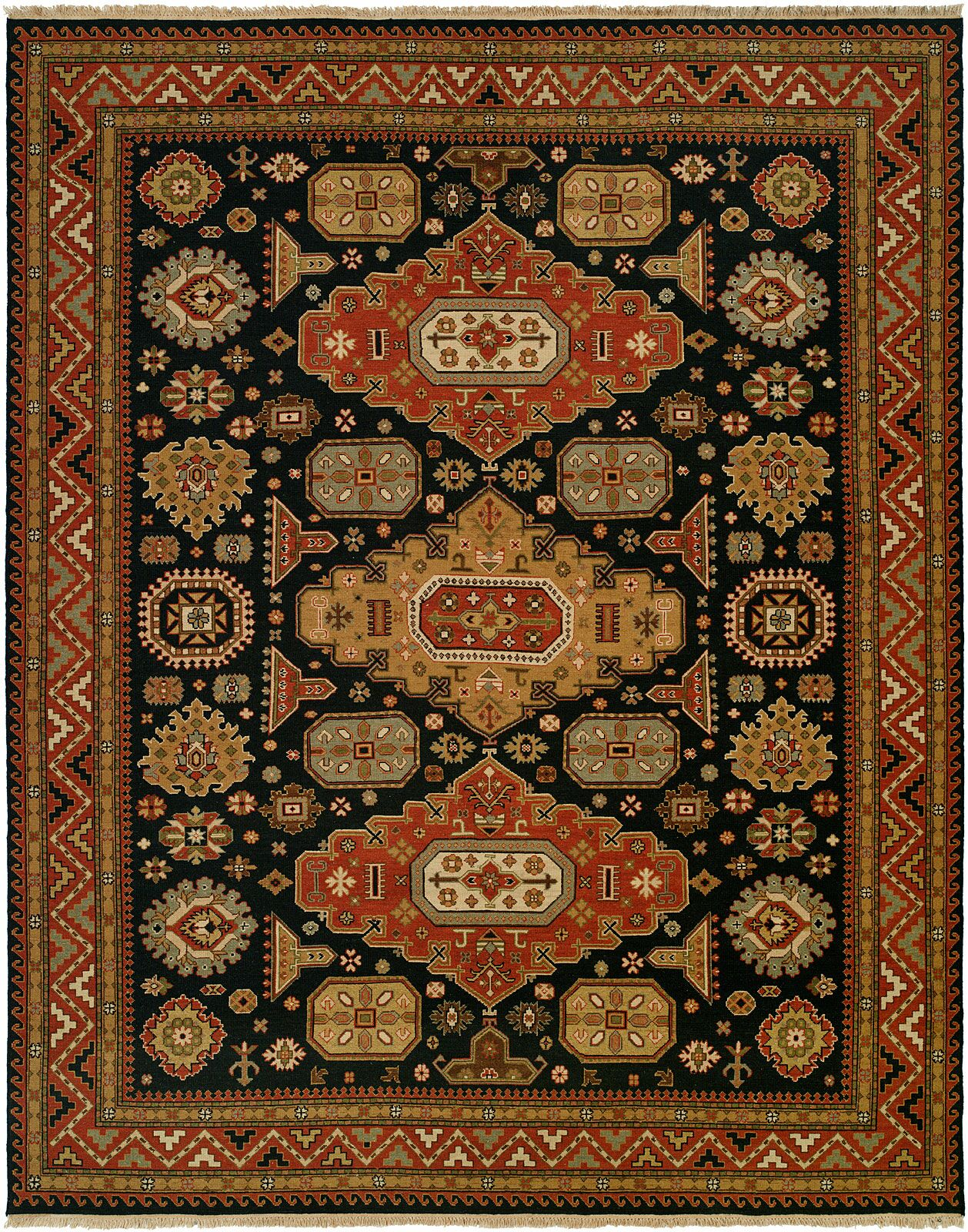 Granat Wool Navy/Rust Area Rug Rug Size: Rectangle 9' x 12'