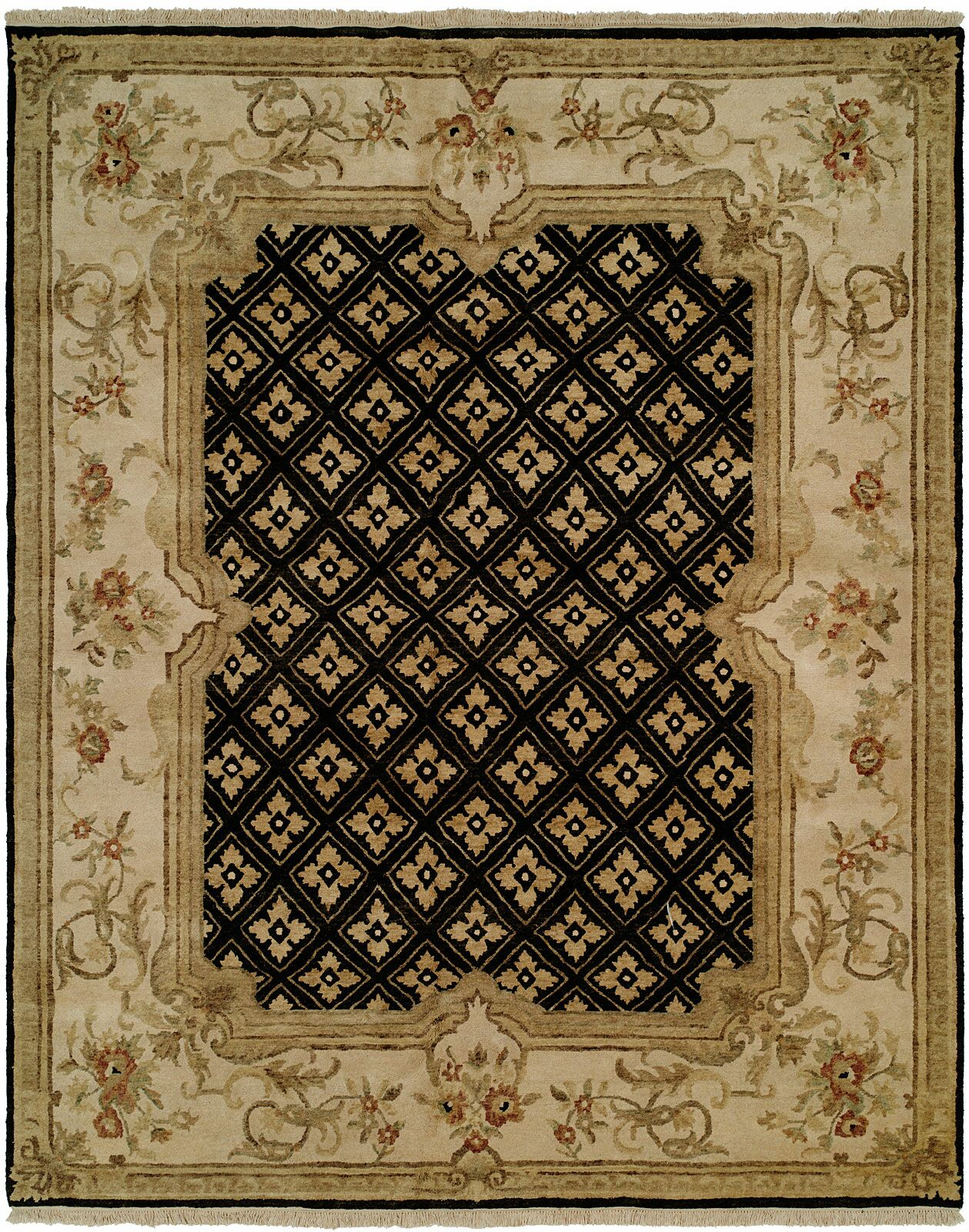 Marvin Hand Knotted Wool Black/Ivory Area Rug Rug Size: Rectangle 6' x 9'