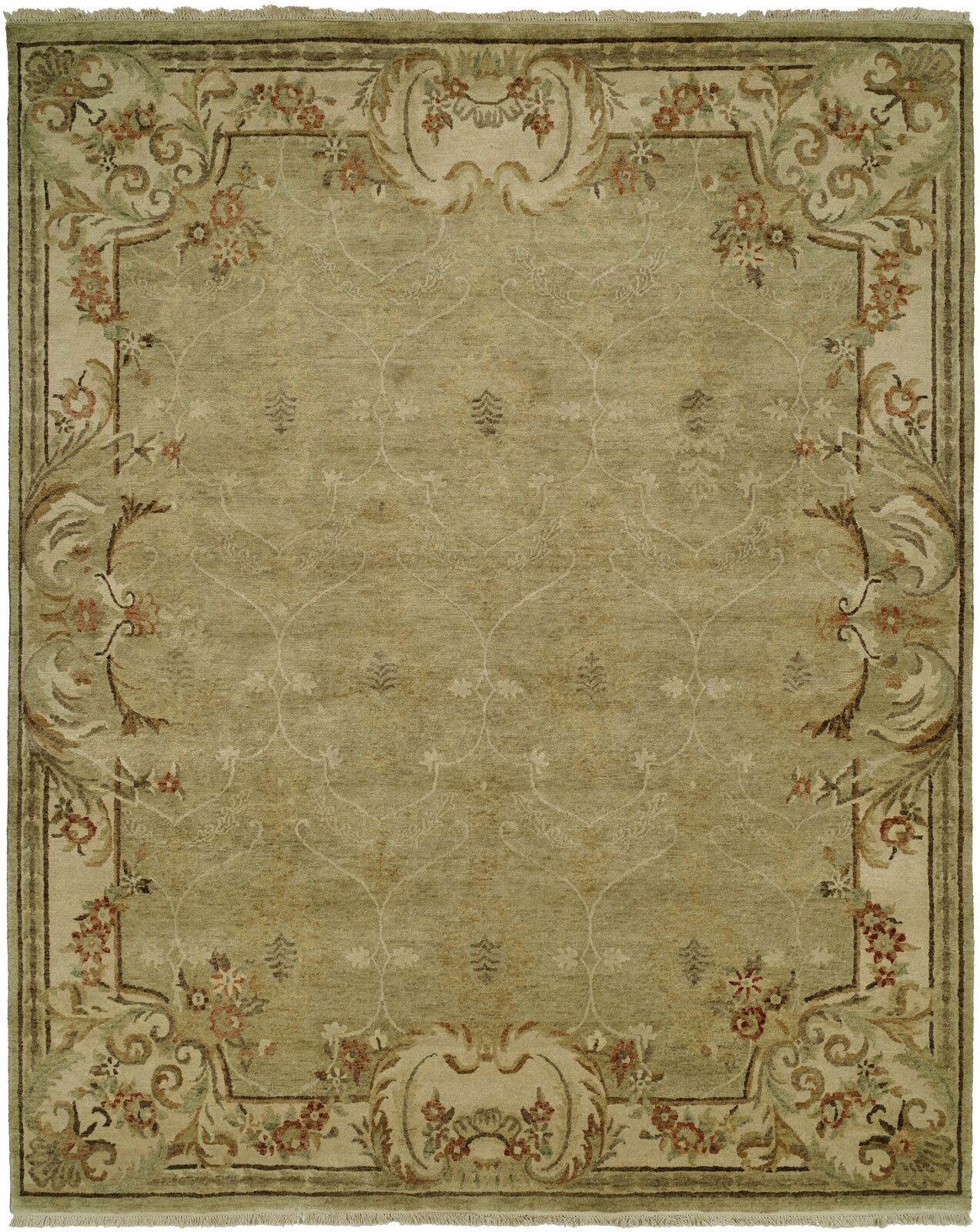 Marwood Hand Knotted Wool Green/Ivory Area Rug Rug Size: Rectangle 11' x 16'