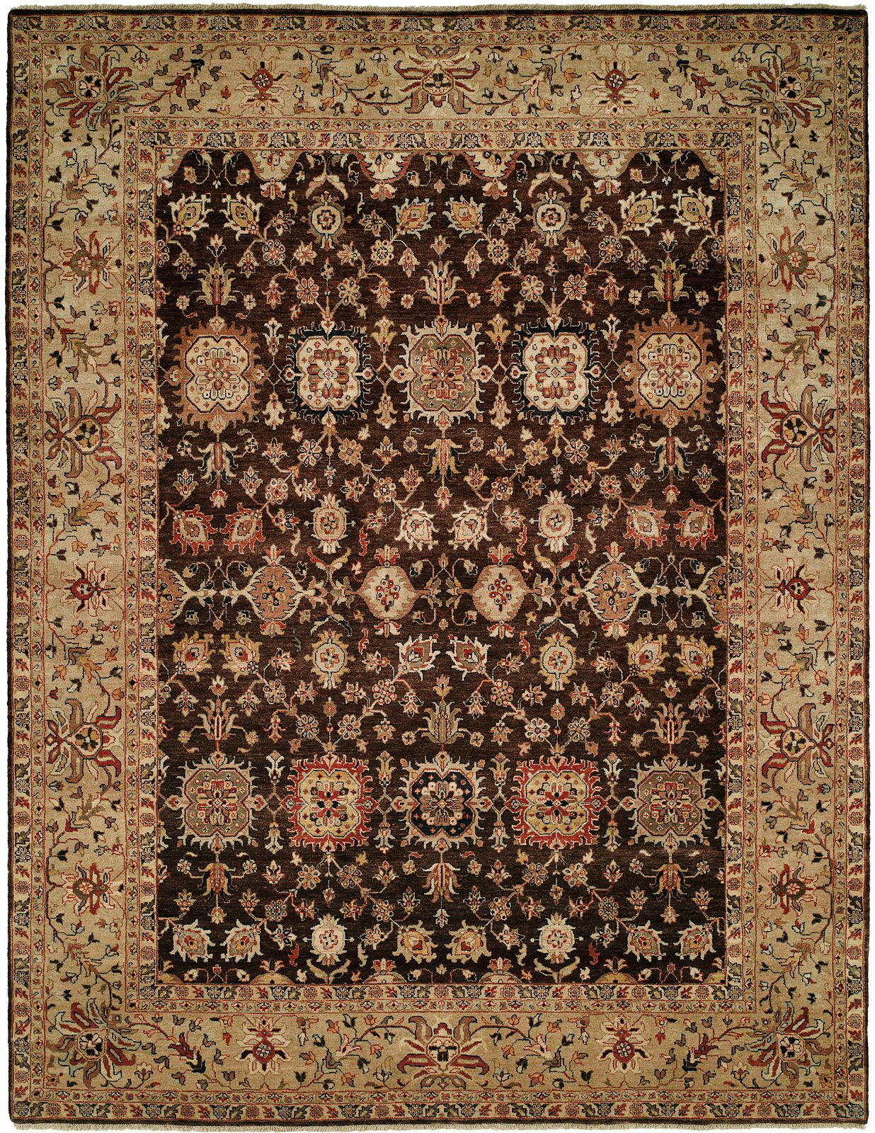 Mathilda Hand Knotted Wool Brown/Beige Area Rug Rug Size: Rectangle 10' x 14'