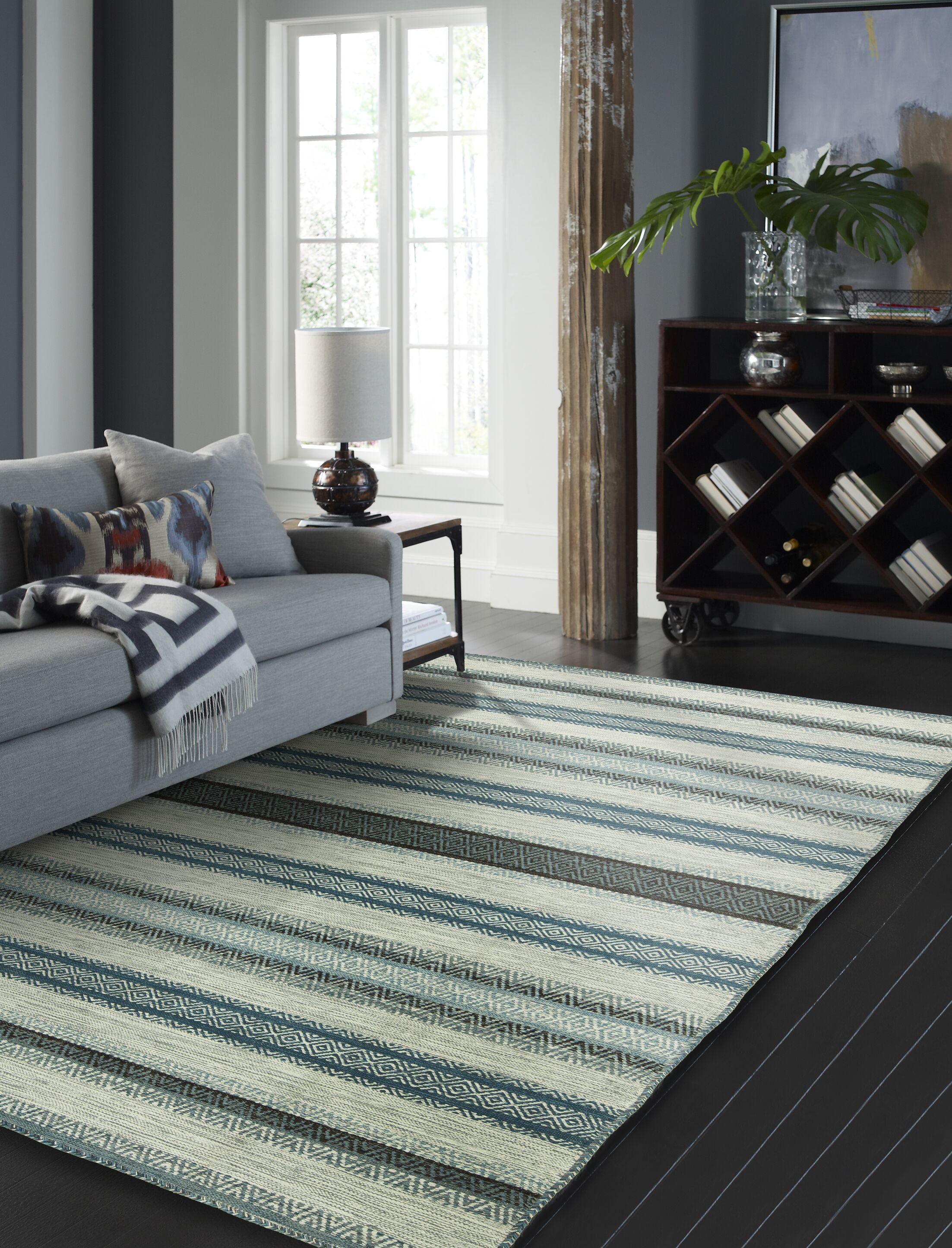 Phillipston Hand-Knotted Cotton Turquoise/Gray Area Rug Rug Size: Rectangle 7'6