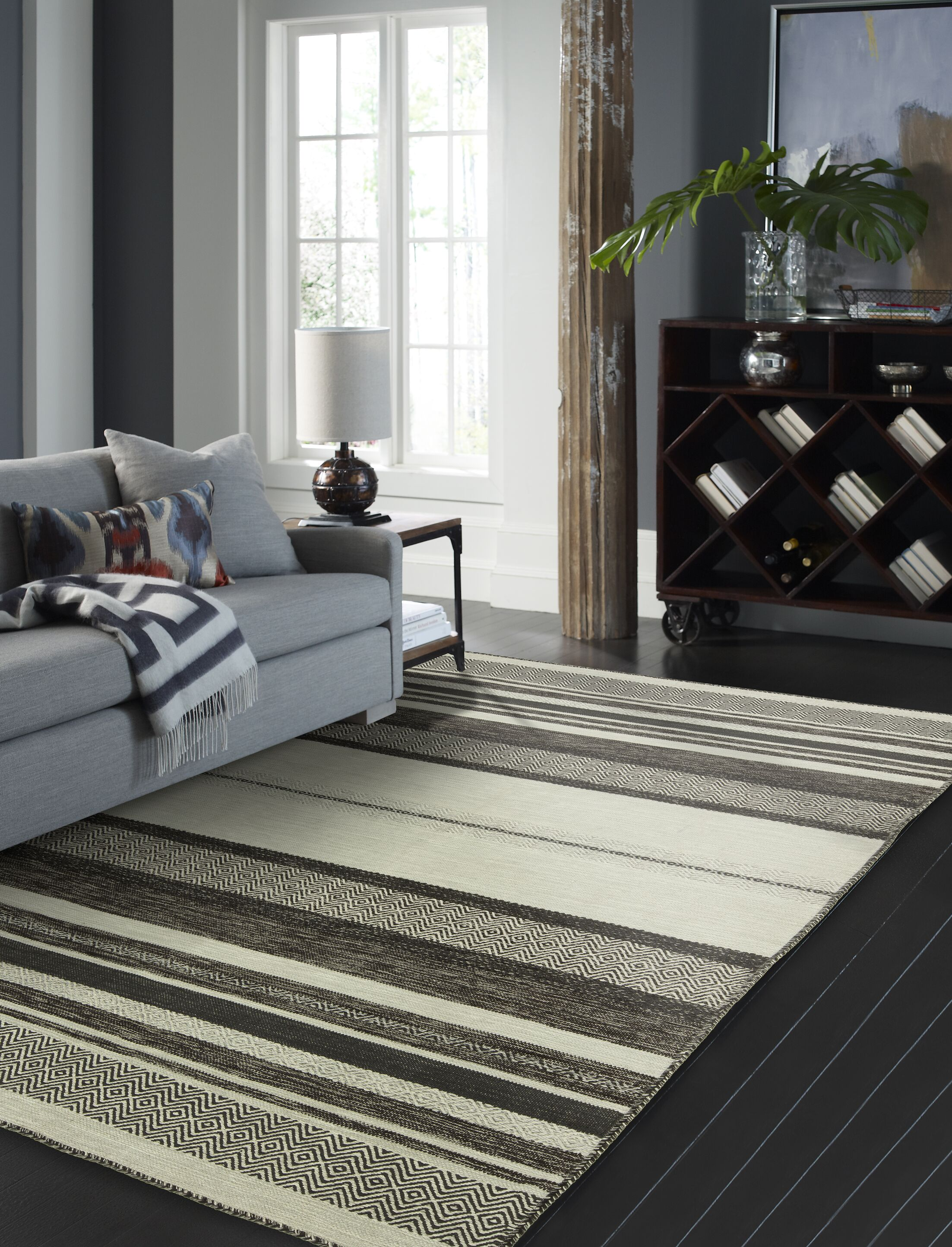 Phillipston Graphite Hand-Knotted Cotton Gray Area Rug Rug Size: Runner 2'6