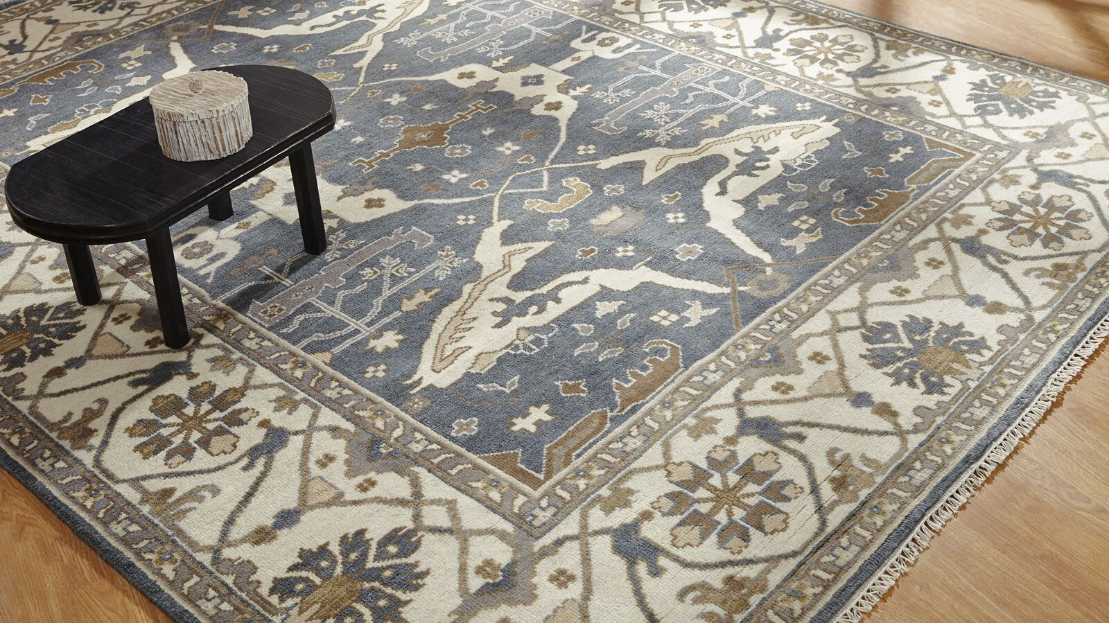 Mitul Hand Knotted Wool Blue/Ivory Area Rug Rug Size: Rectangle 10' x 14'