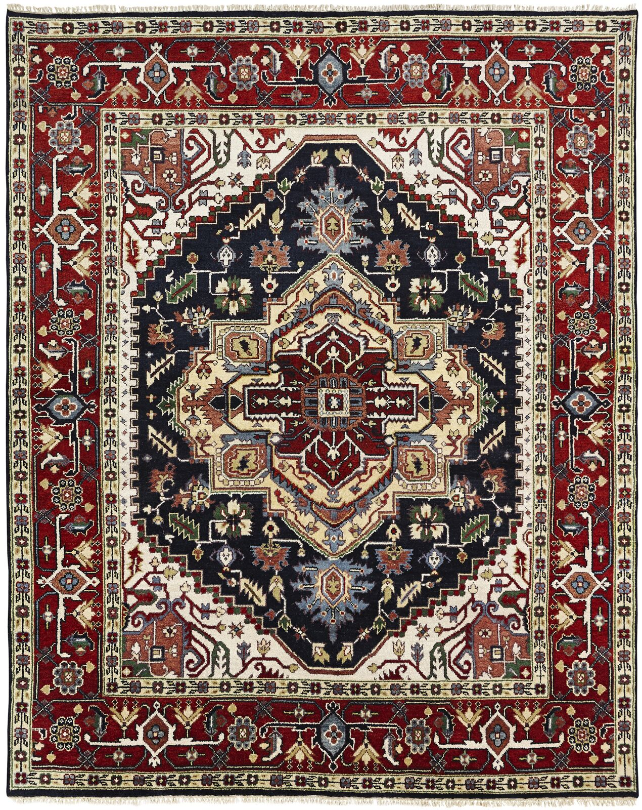 Marseilles Hand Knotted Wool Black/Red Area Rug Rug Size: Rectangle 10' x 14'