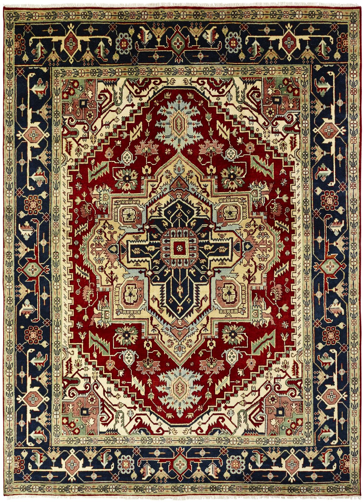 Martina Hand-Knotted Wool Navy Blue/Red Area Rug Rug Size: Rectangle 10' x 14'