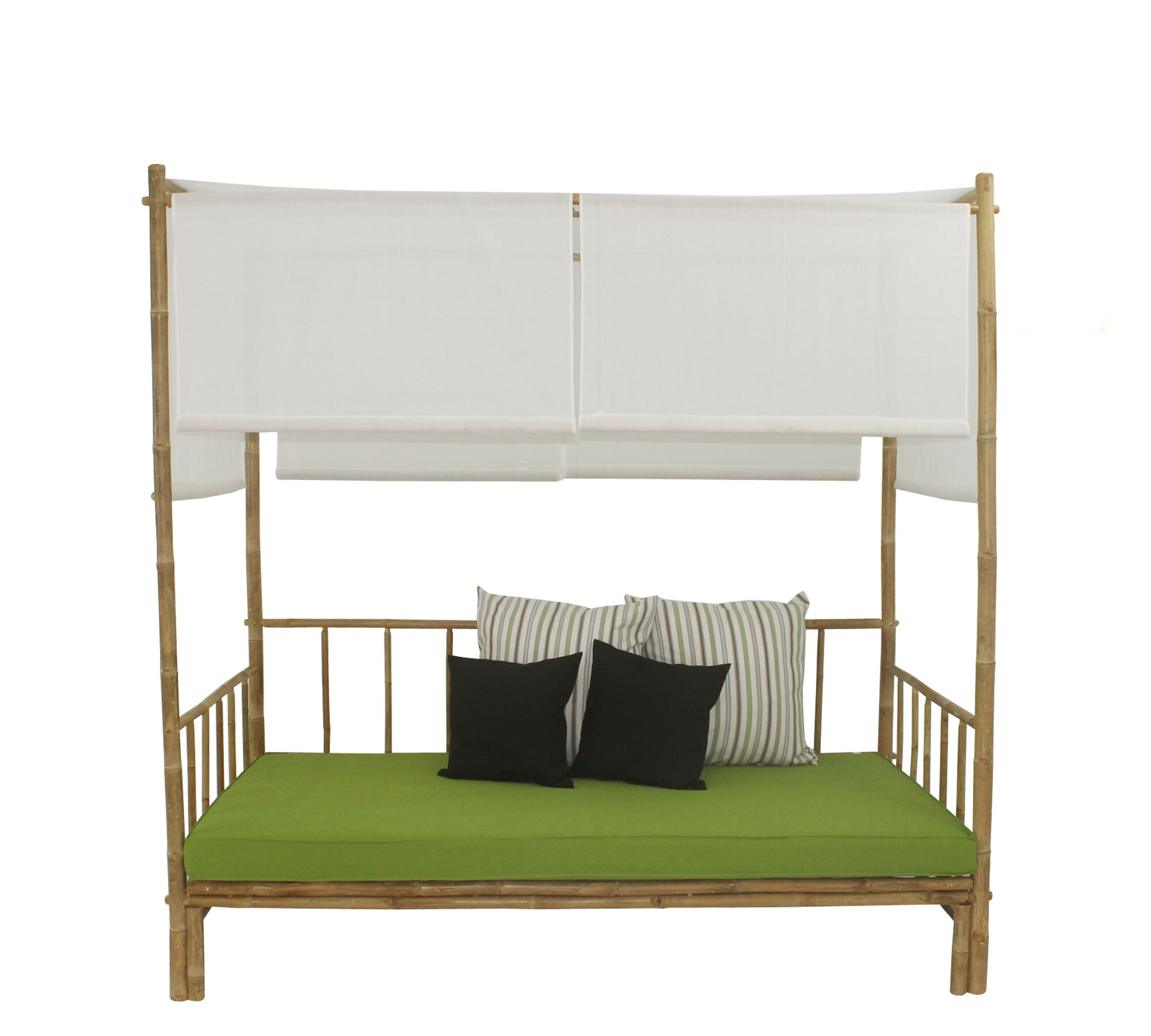 Eoin Bamboo Patio Daybed with Cushions and Canopy and Mattress Fabric Color: Green