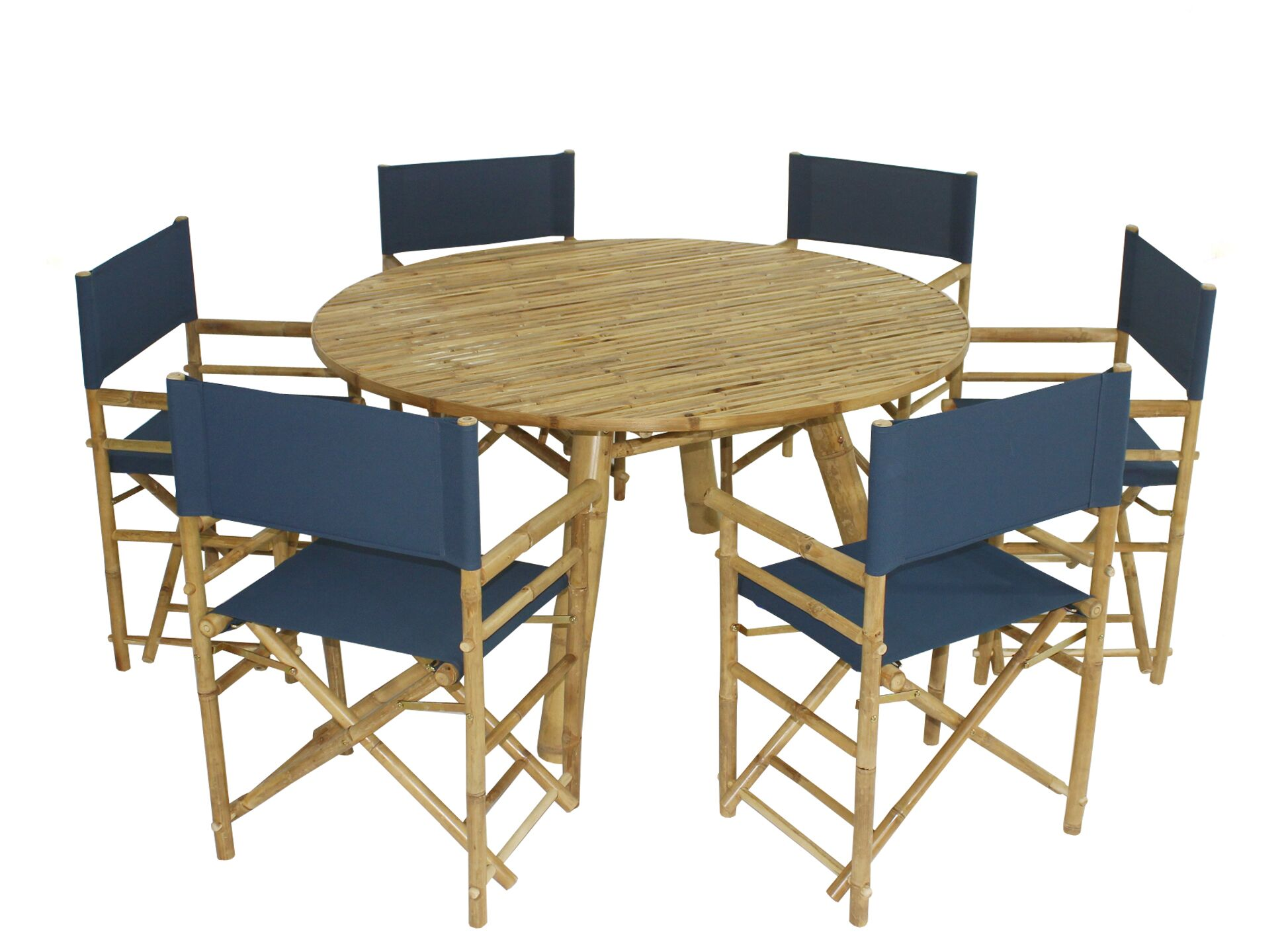 Whitson Bamboo 7 Piece Dining Set Color: Navy