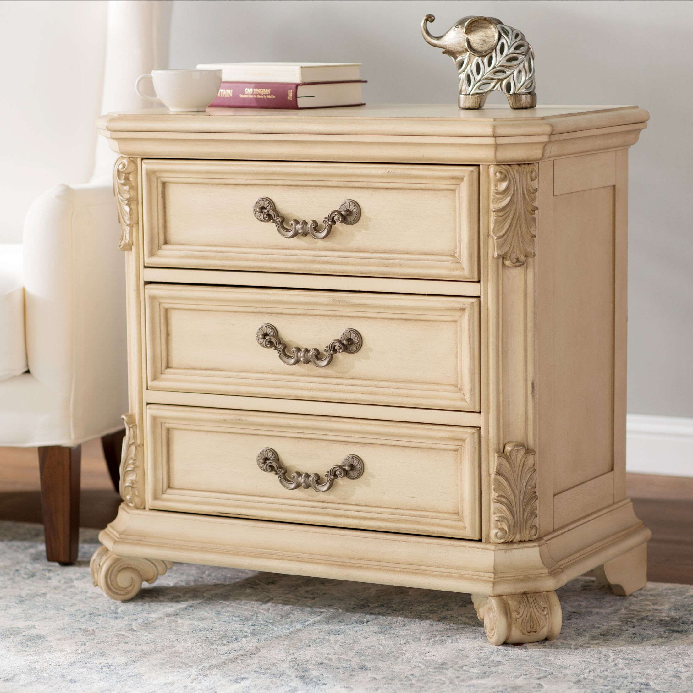 Cavas 3 Drawer Nightstand Color: Antique Ivory