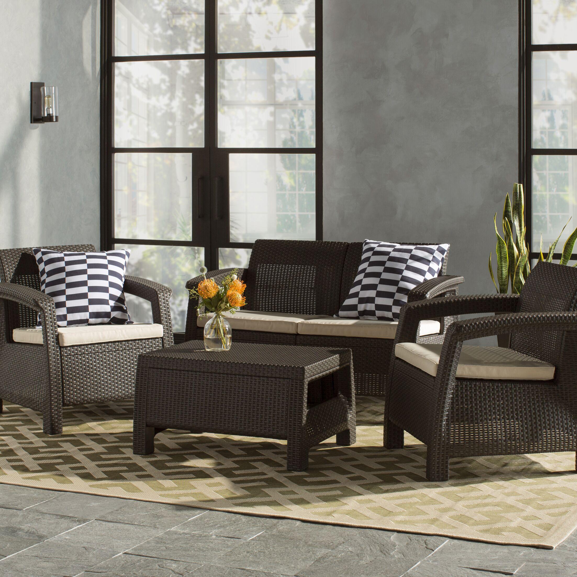 Berard 4 Piece Rattan Sofa Set with Cushions Color: Brown