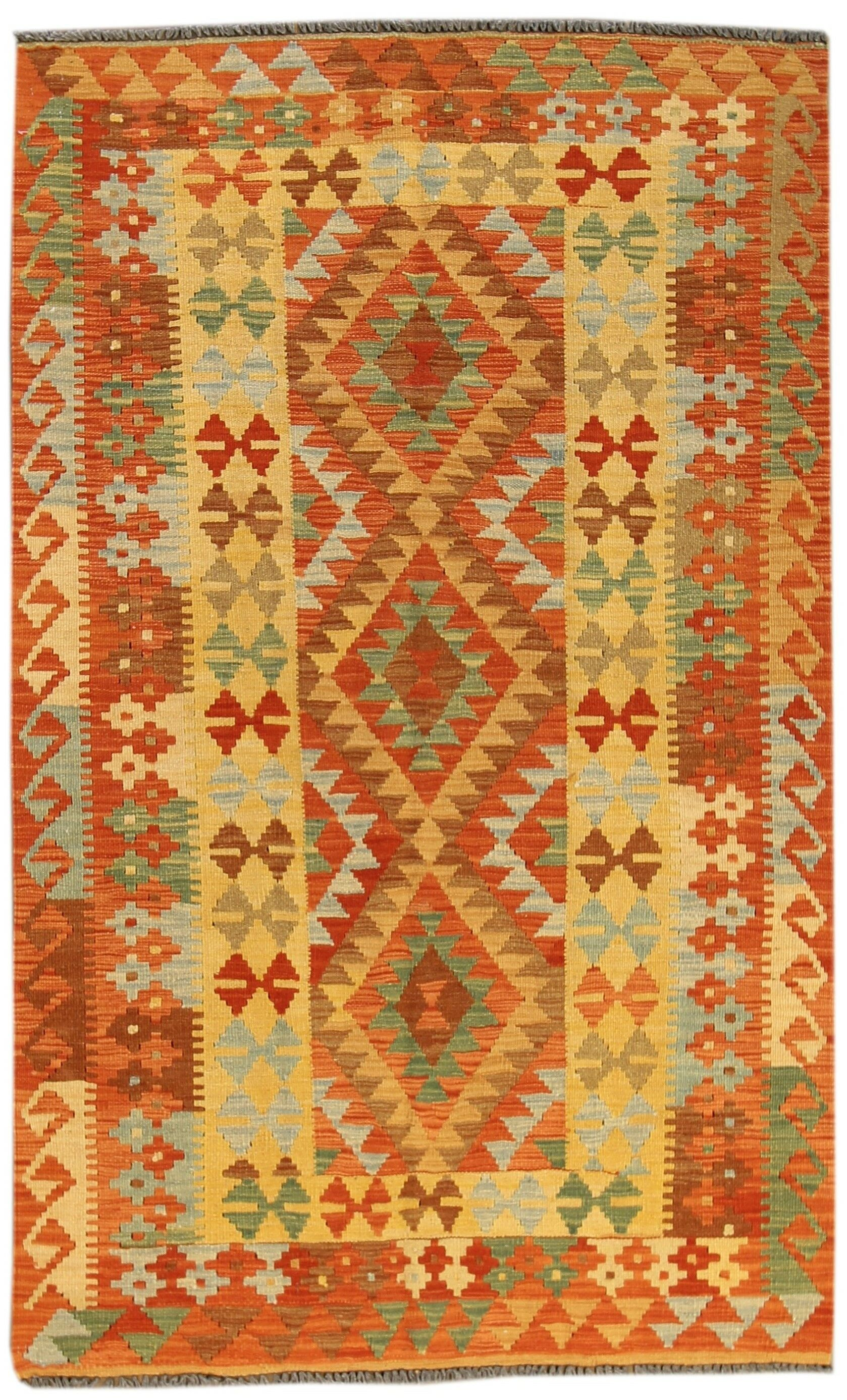 Kilim Hand-Woven Wool Orange Area Rug