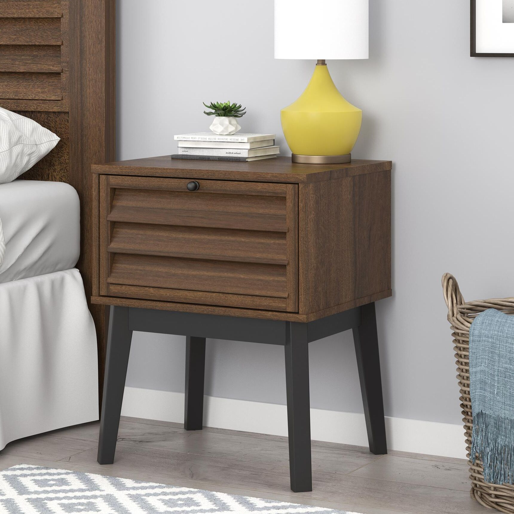 Dover 1 Drawer Nightstand Color: Walnut