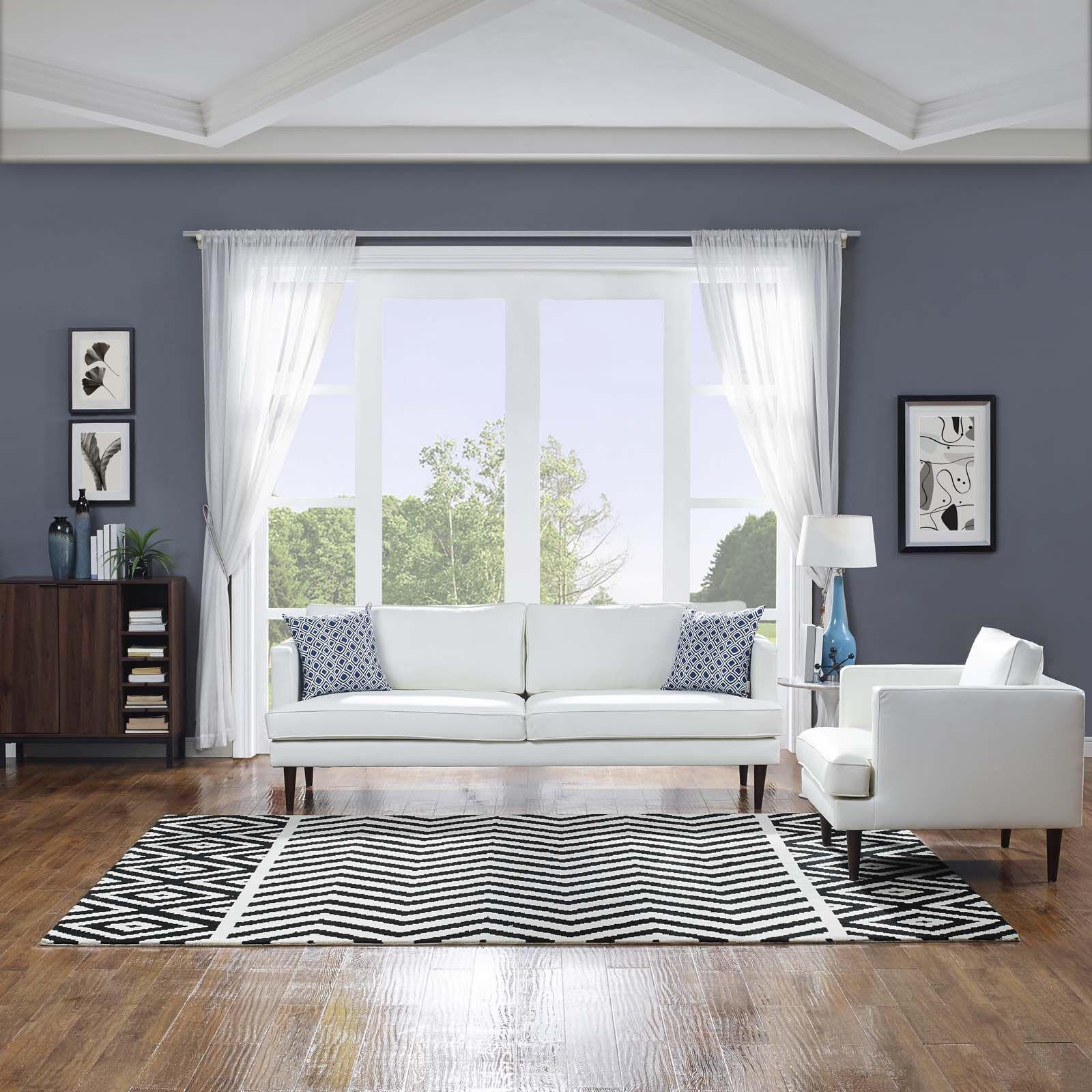 Shaunna Black/White Area Rug Rug Size: Rectangle 8' x 10'
