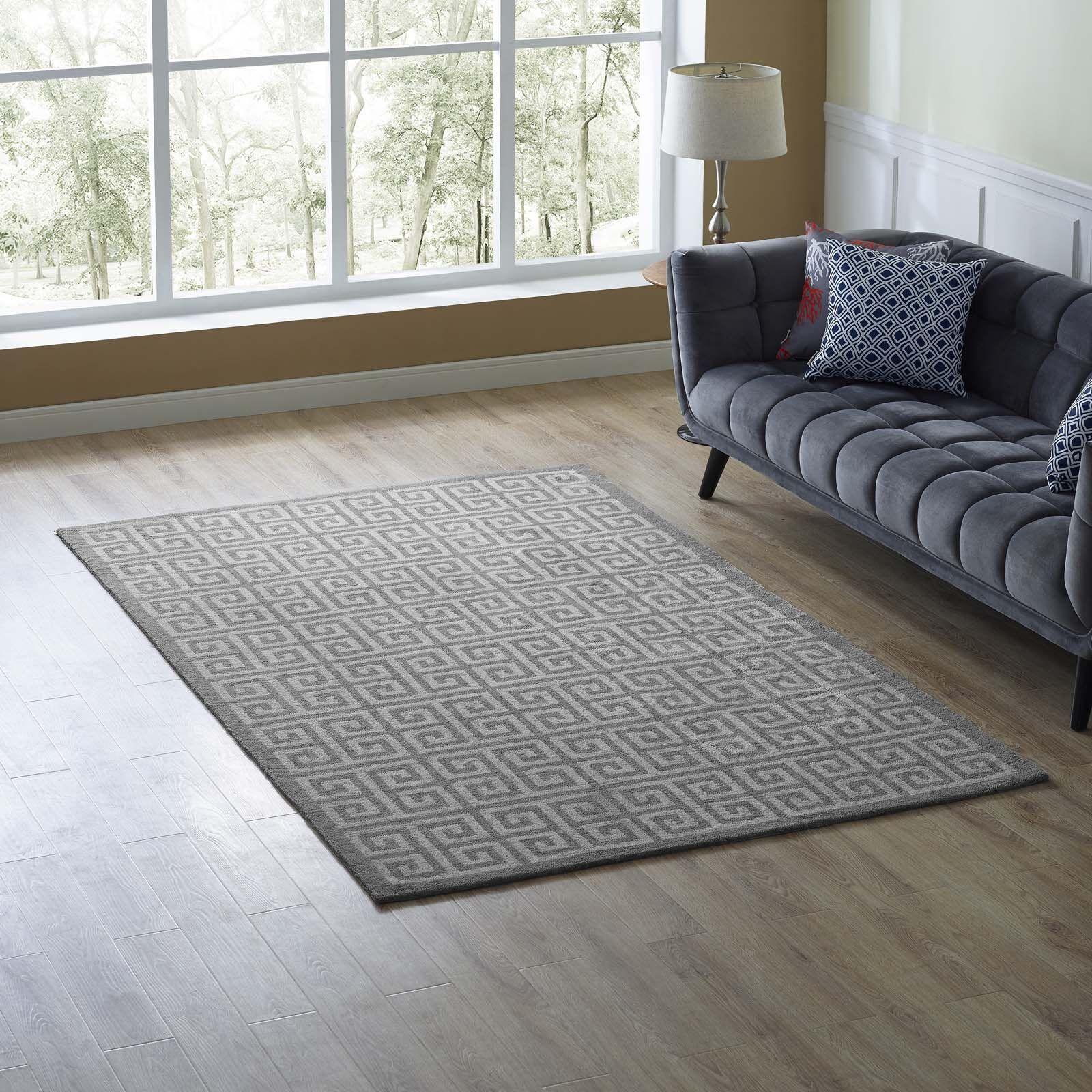 Selman Greek Key White/Light Gray Area Rug Rug Size: Rectangle 5' x 8'