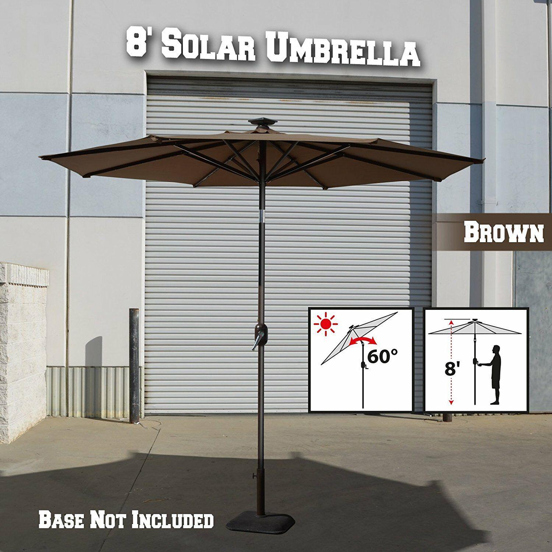 Lesley Solar Light Outdoor 8' Market Umbrella Fabic Color: Brown