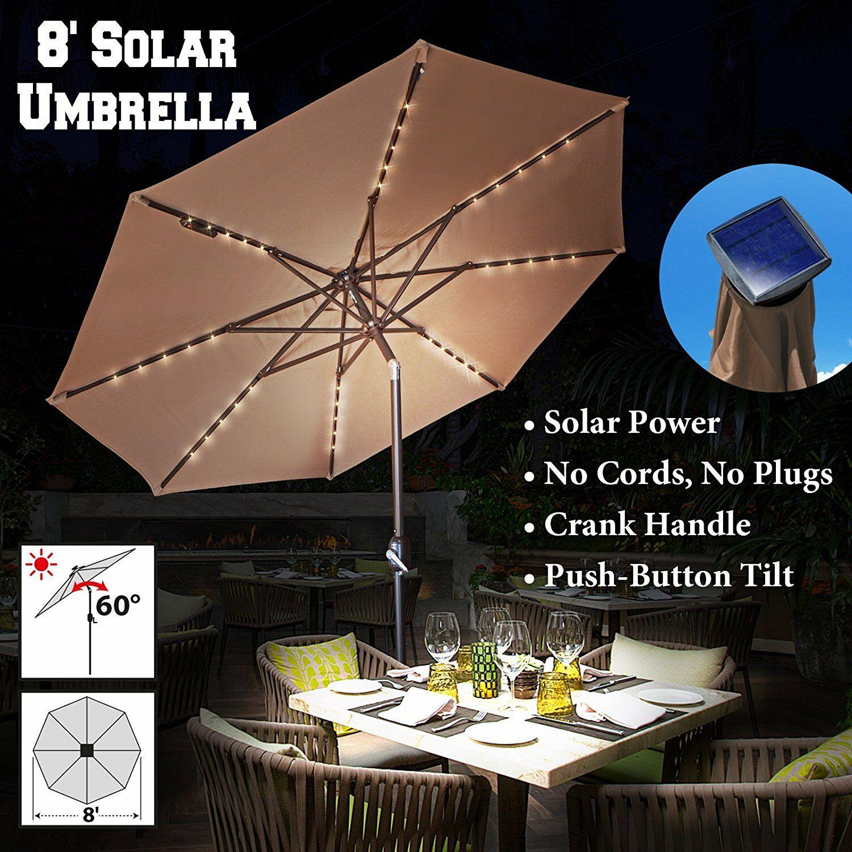 Lesley Solar Light Outdoor 8' Market Umbrella Fabic Color: Tan