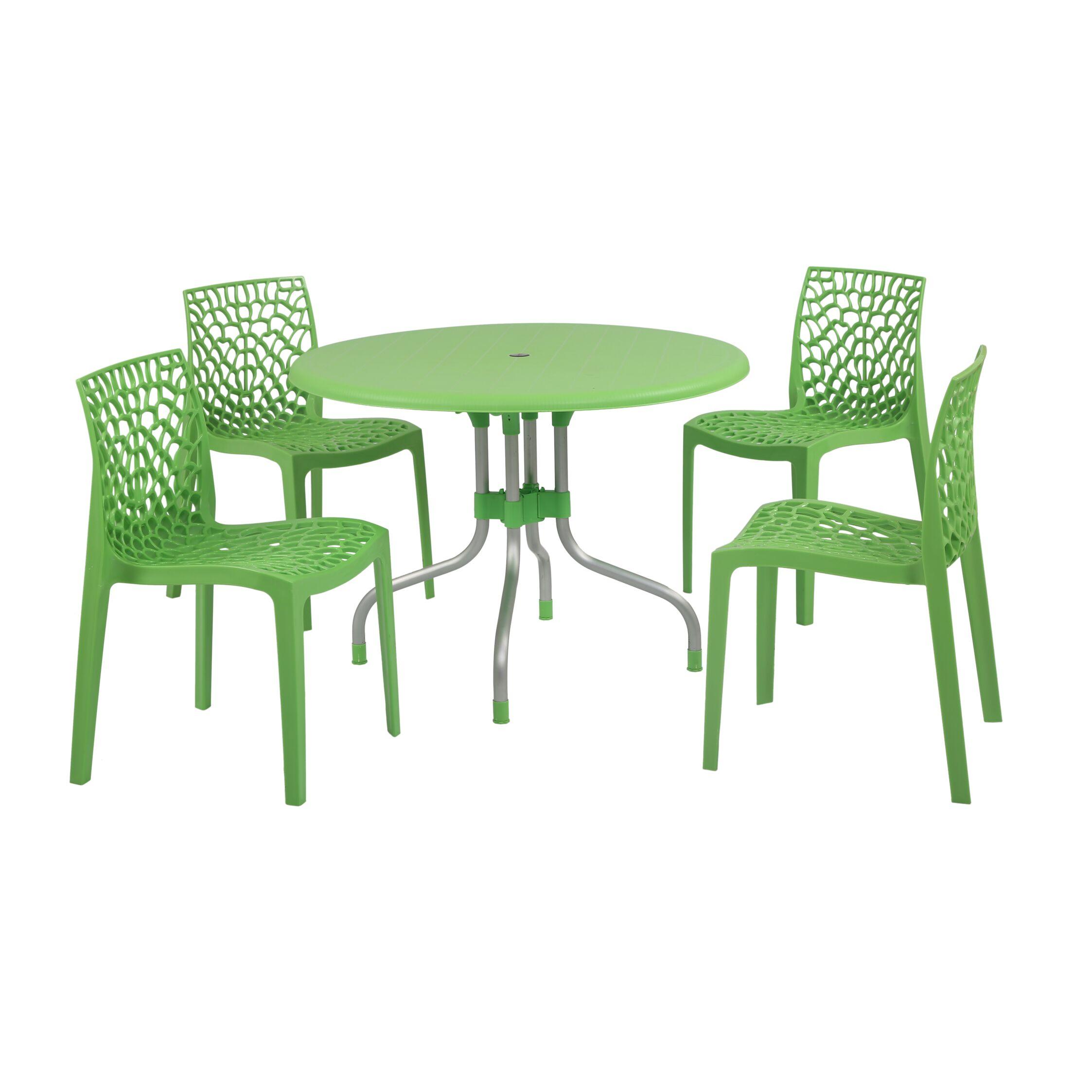 Gerardi Commercial Grade 5 Piece Dining Set Color: Green