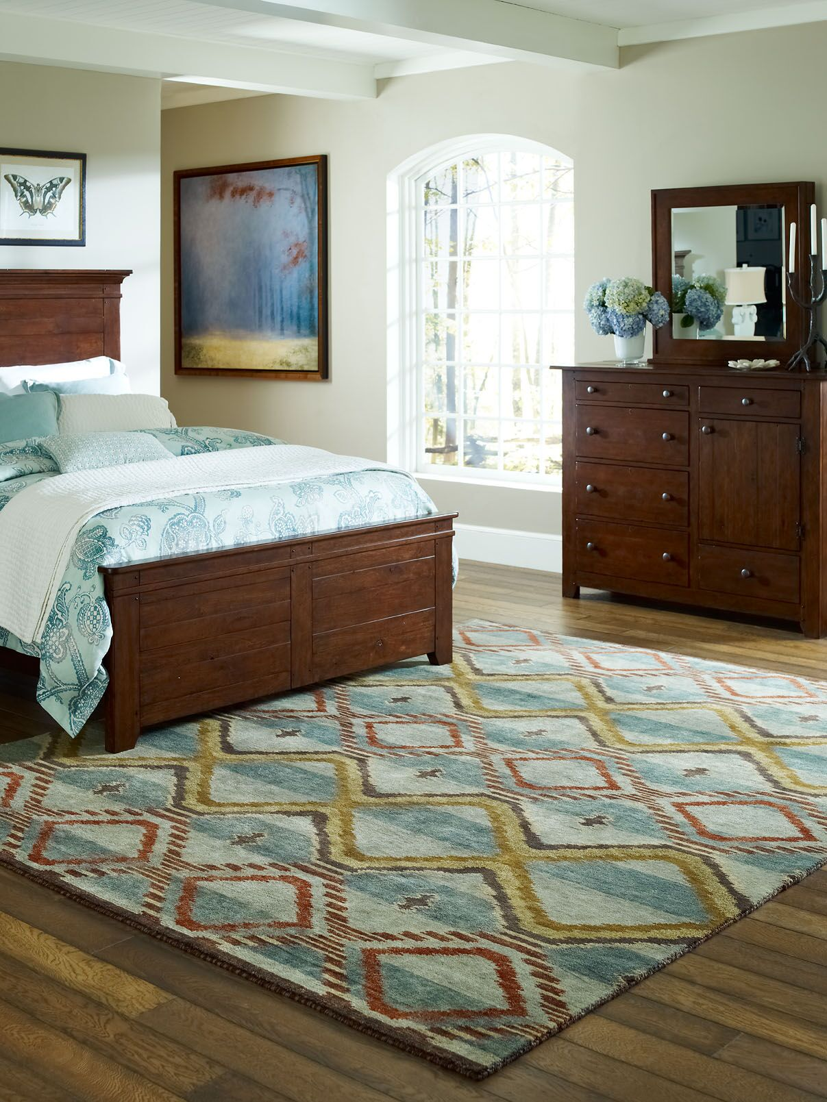 Keddie Hand-Knotted Wool Blue/Beige Area Rug Rug Size: Rectangle 8' x 10'
