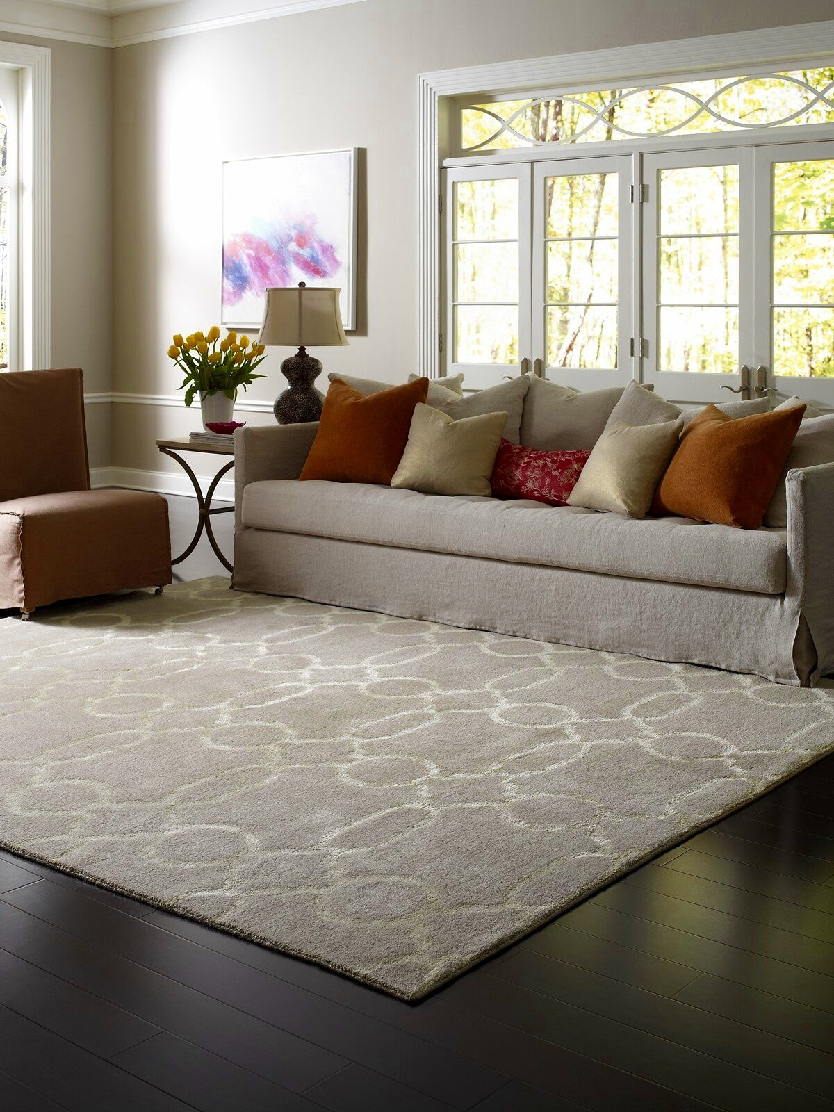 Vicennia Hand-Knotted Wool Beige Area Rug Rug Size: Rectangle 9' x 12'