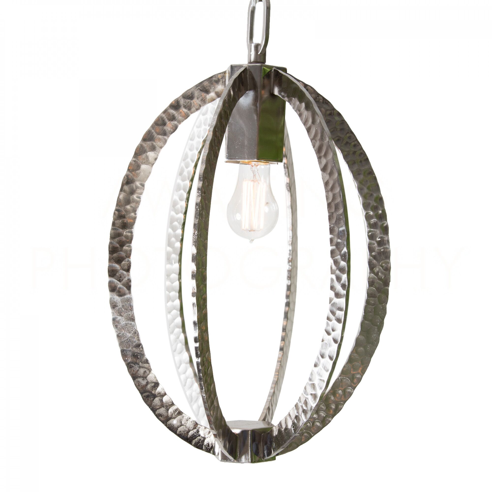 Chan Geo Hammered Oval Mini Pendant Finish: Nickle