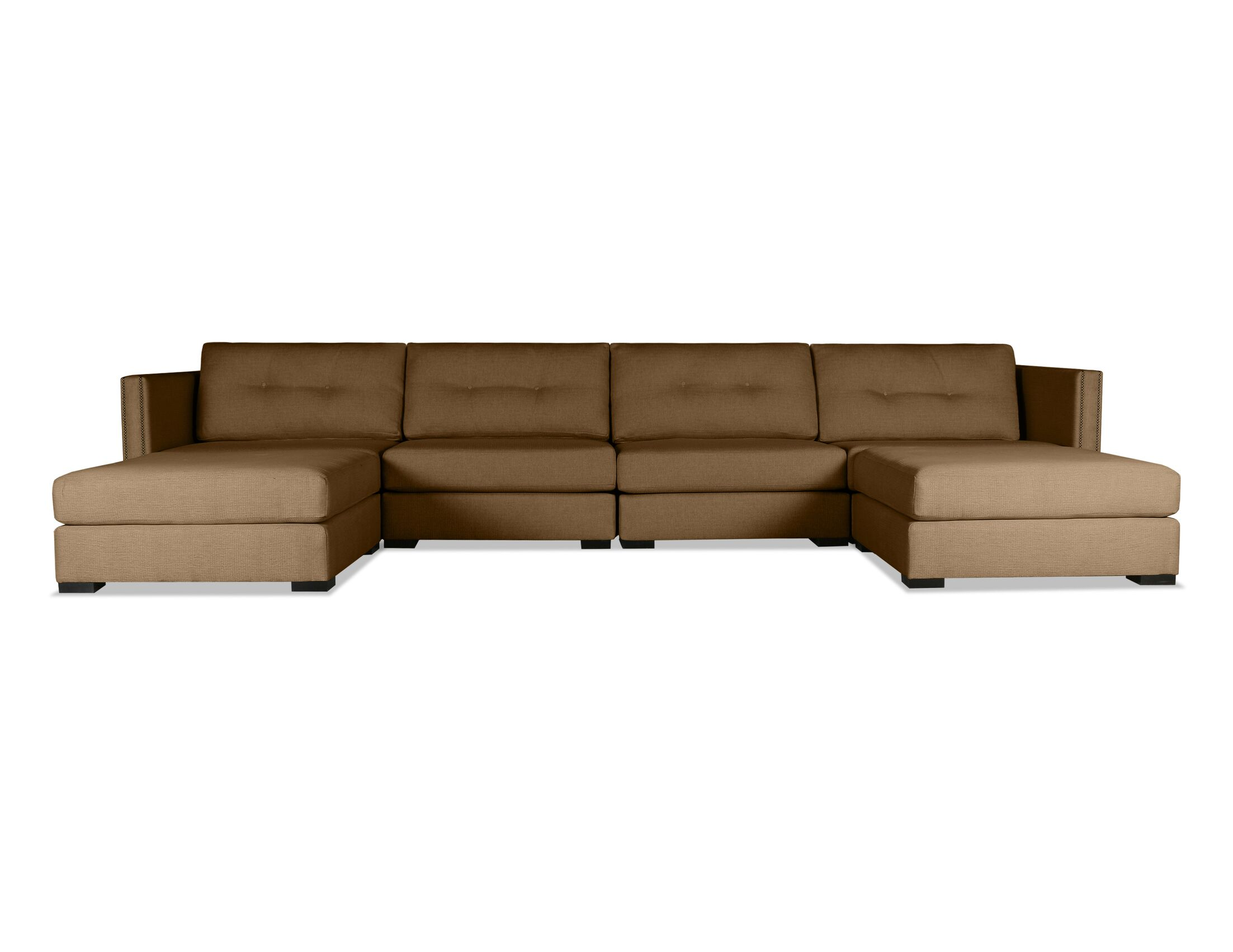 Timpson Buttoned U-Shape Double Chase Modular Sectional Upholstery: Brown