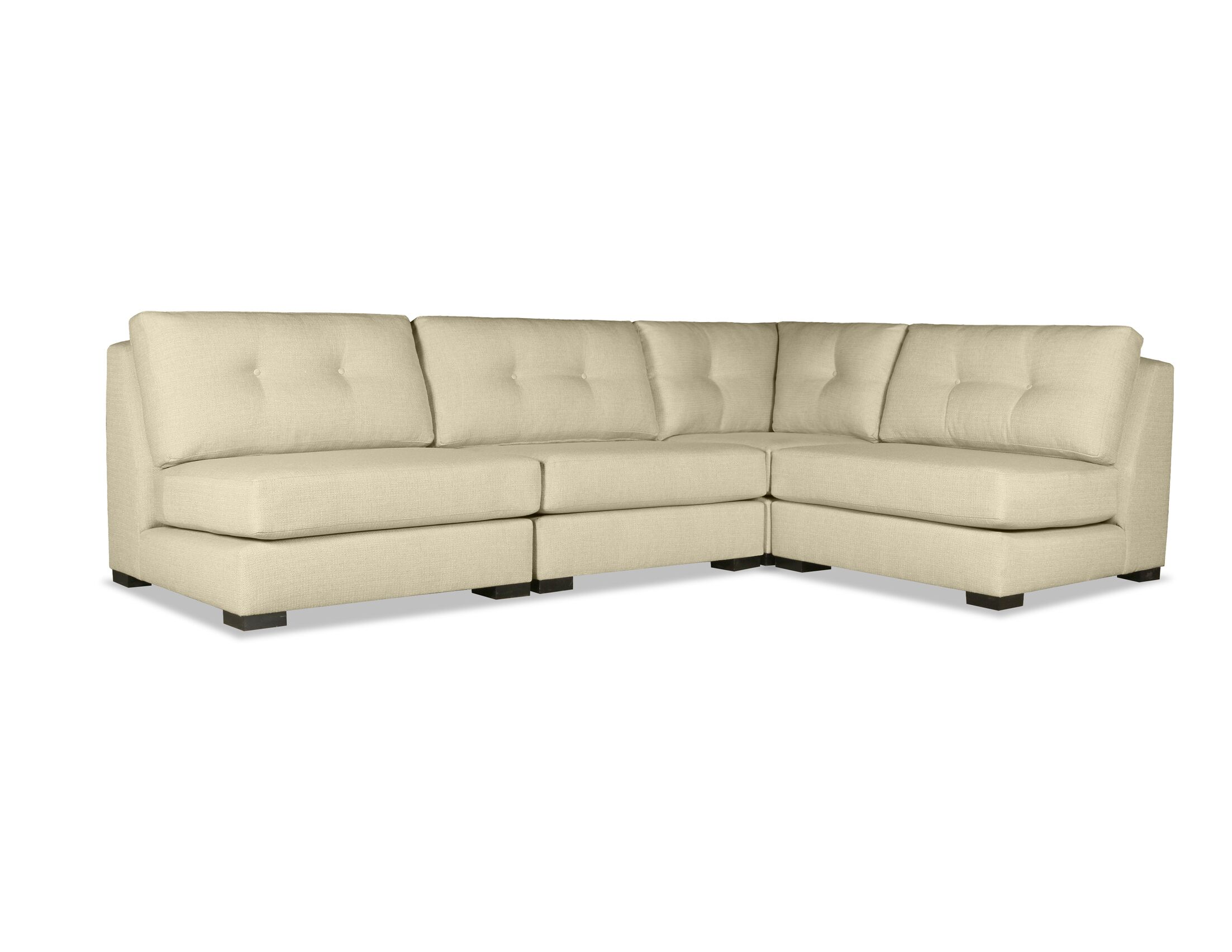 Glaude Buttoned L-Shape Short Modular Sectional Upholstery: Sand
