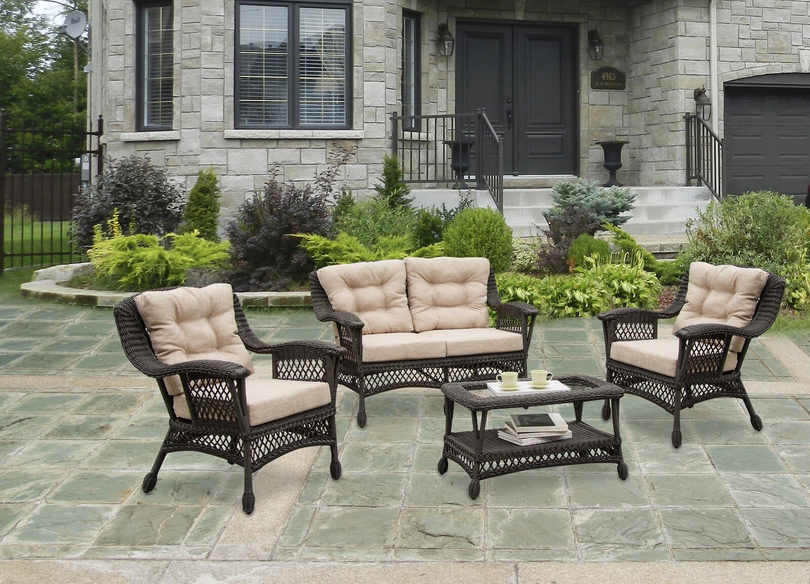 Grund Outdoor Garden 4 Piece Sofa Seating Group with Cushions