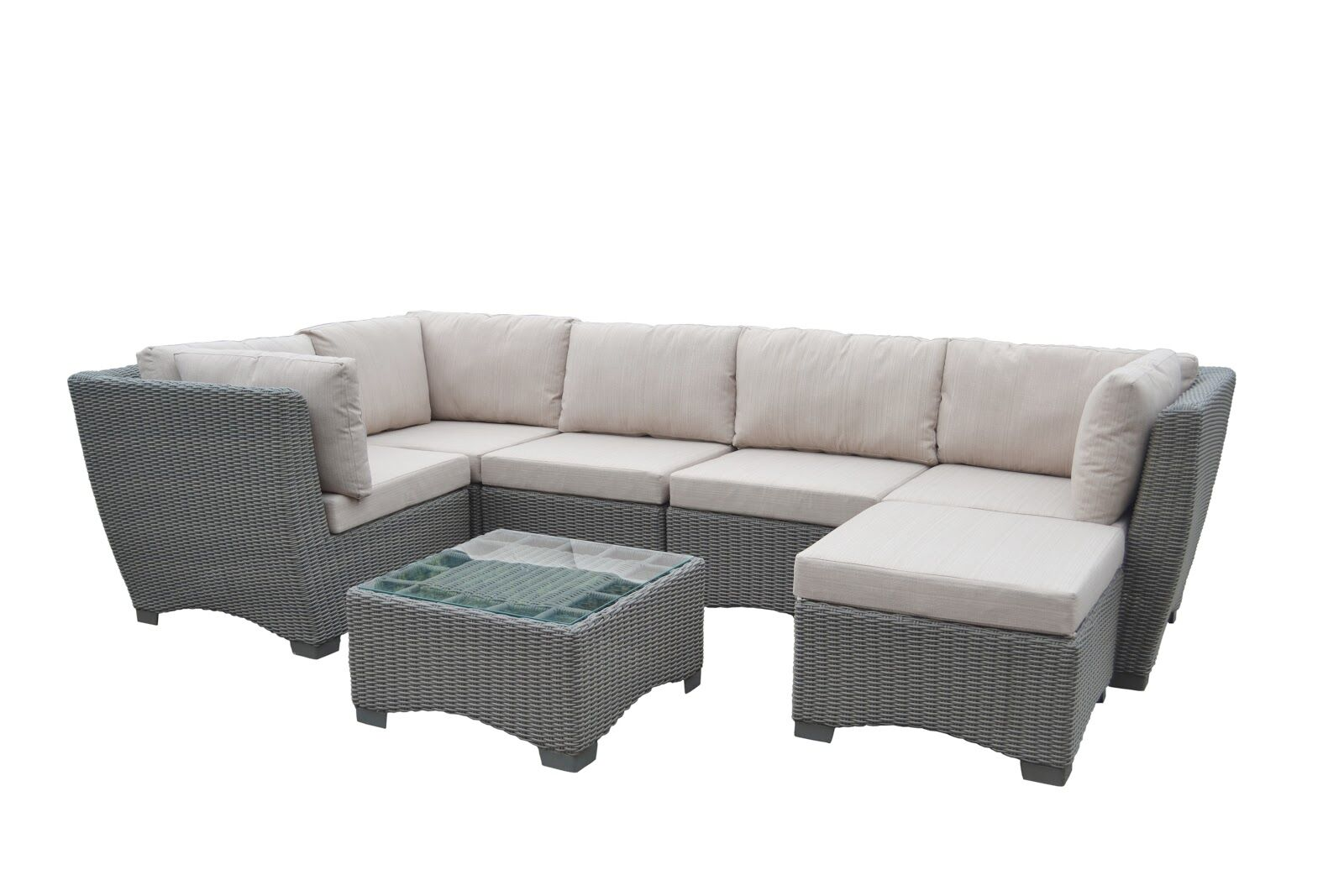 Couto Outdoor Garden 7 Piece Sectional Seating Group with Cushions