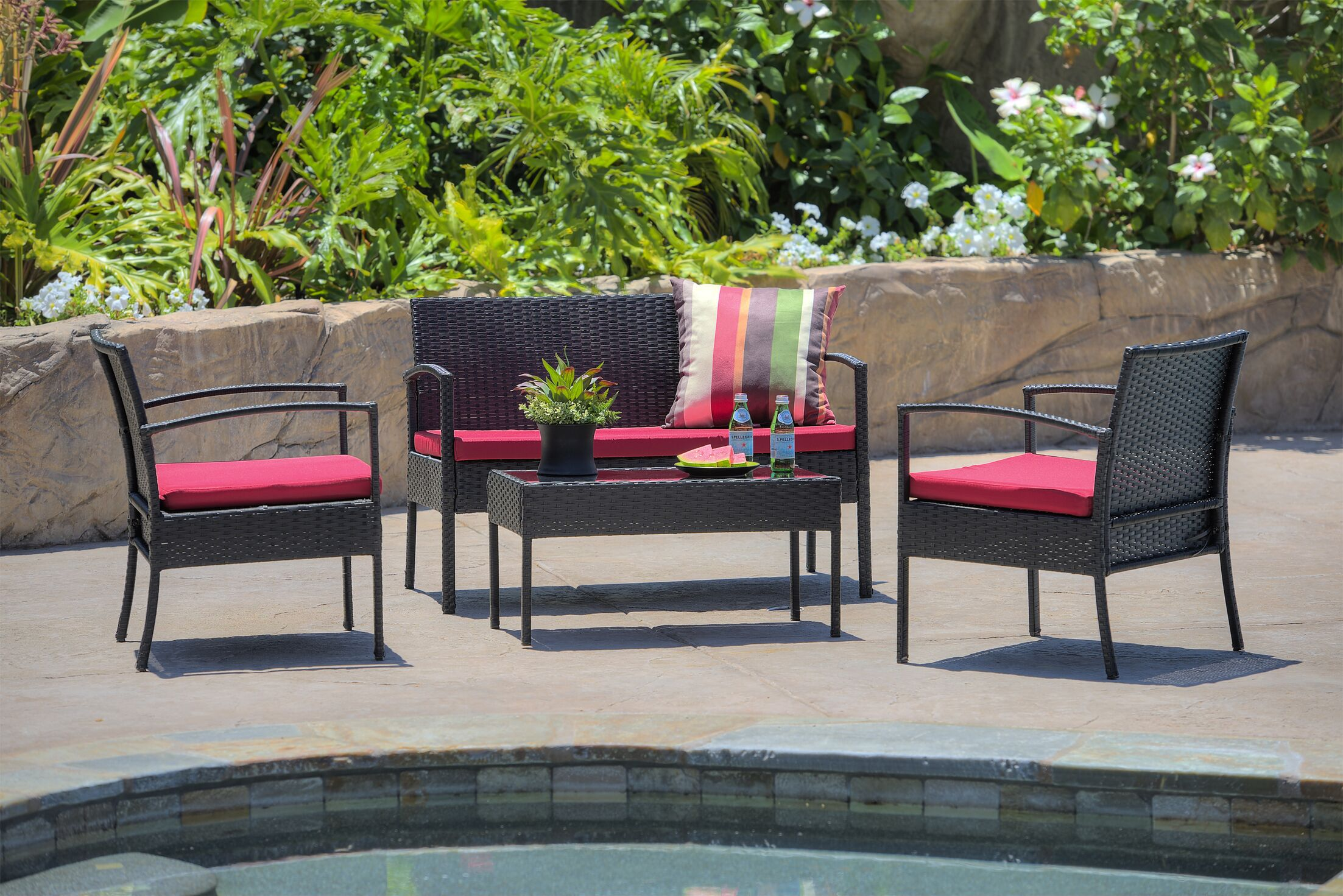 4 Piece Patio Sofa Set with Cushions Frame Color: Black, Cushion Color: Red