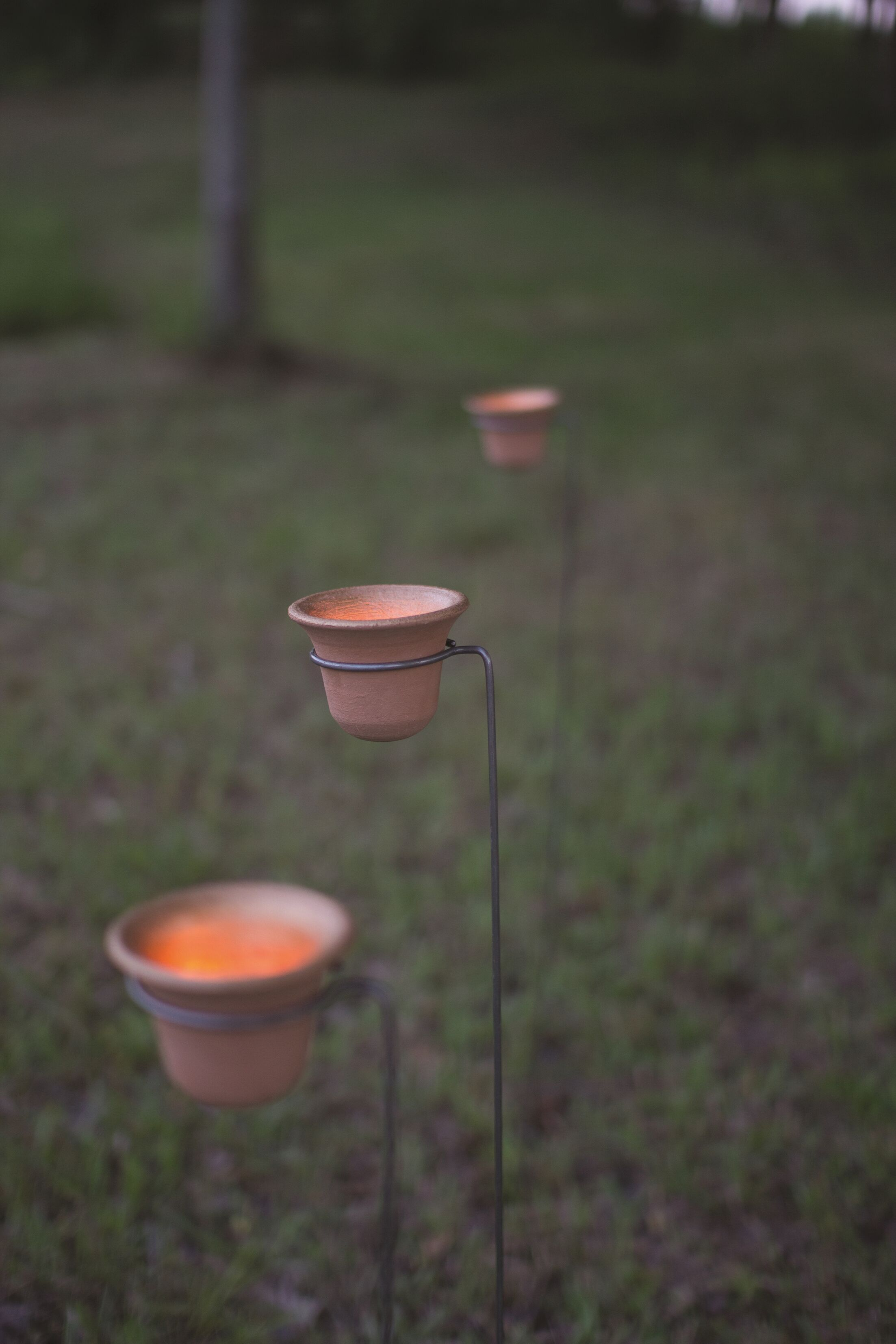 Clay Bell Candle Garden Stake