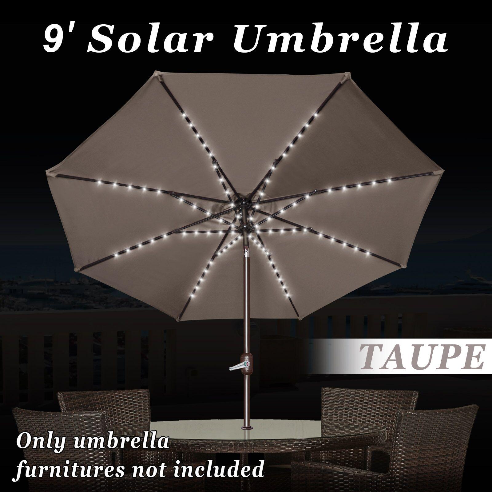 Battista 9' Market Umbrella with LED Light Fabric Color: TAUPE