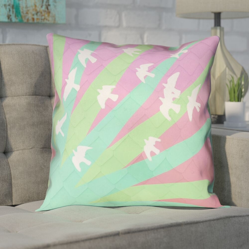 Enciso Birds and Sun  Double Sided Print Pillow Cover Size: 20