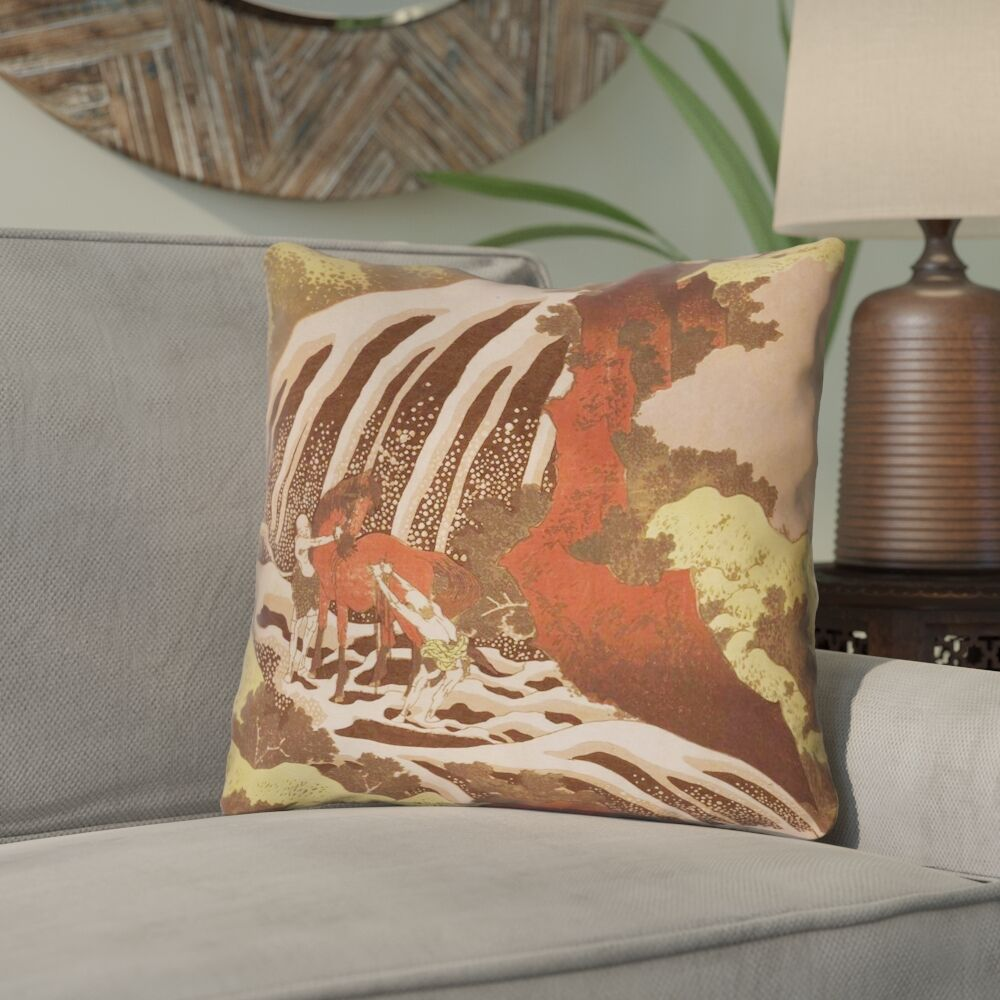 Channelle Horse and Waterfall Square Indoor Throw Pillow Size: 18