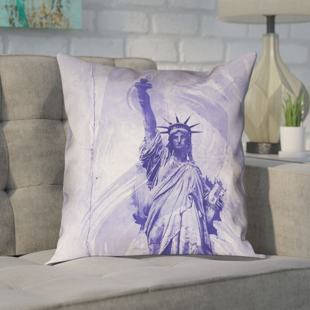 Houck Blue Watercolor Statue of Liberty Pillow Cover Size: 18