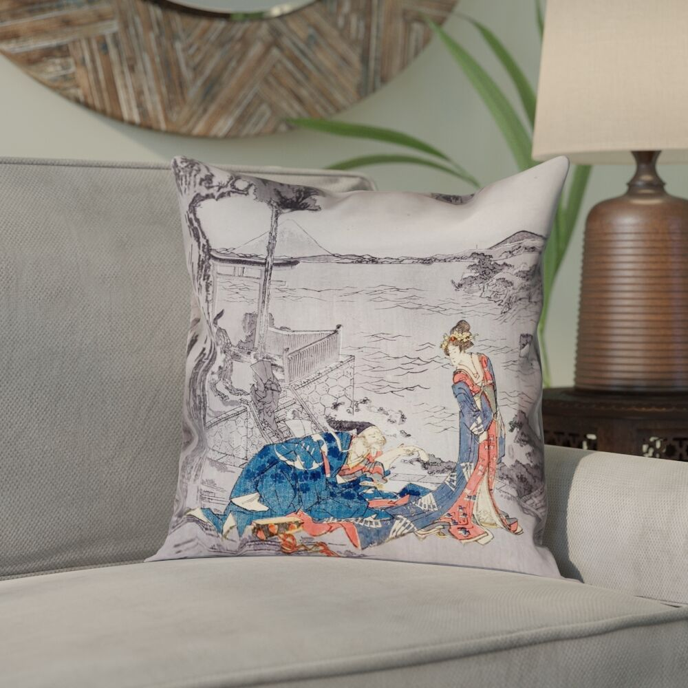 Enya Japanese Courtesan Square Cotton Pillow Cover Size: 26