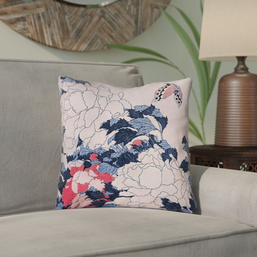 Clair Peonies and Butterfly Square Linen Throw Pillow Size: 14