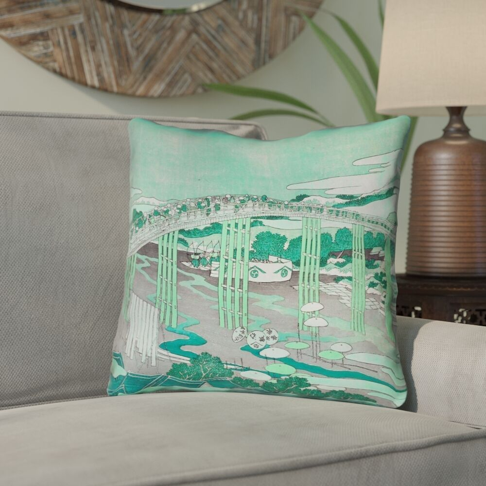 Enya Japanese Bridge Linen Throw Pillow Size: 26