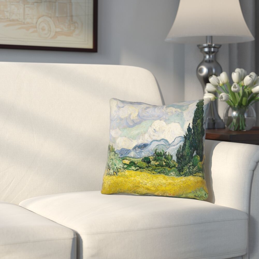 Woodlawn Wheatfield with Cypresses Square Indoor Throw Pillow Size: 18
