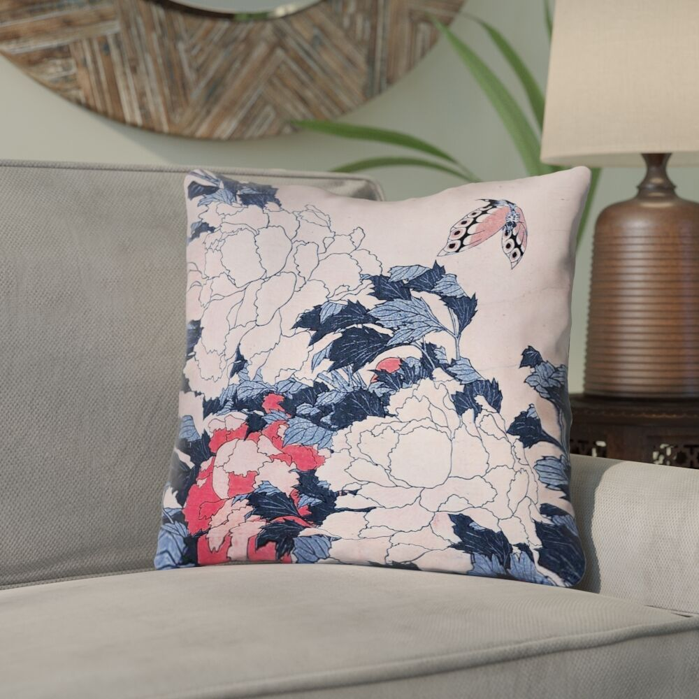 Clair Peonies and Butterfly Indoor Square Throw Pillow Size: 16